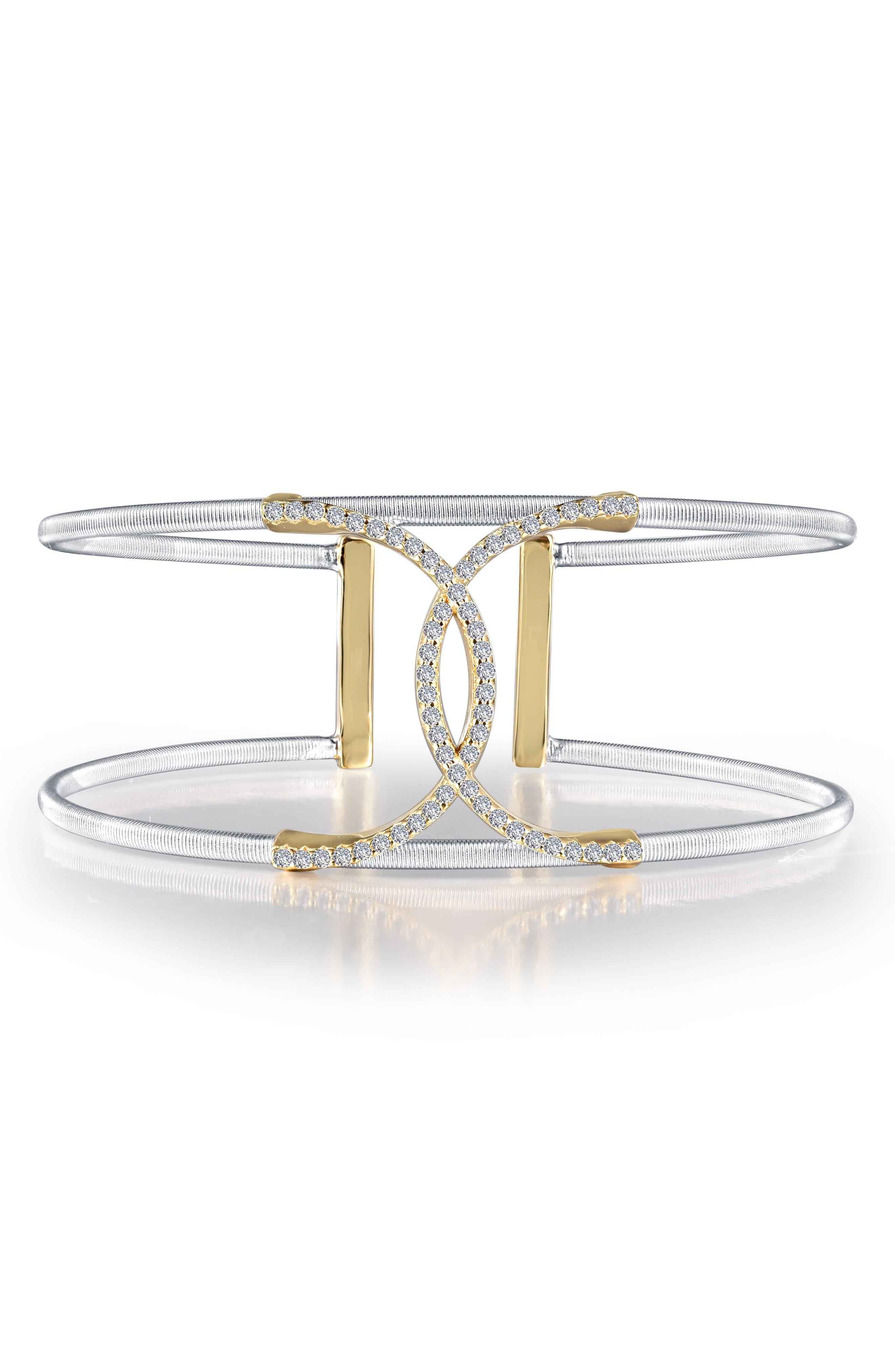 Simulated Diamond Cuff,                         Main,                         color, Two Tone/ Clear