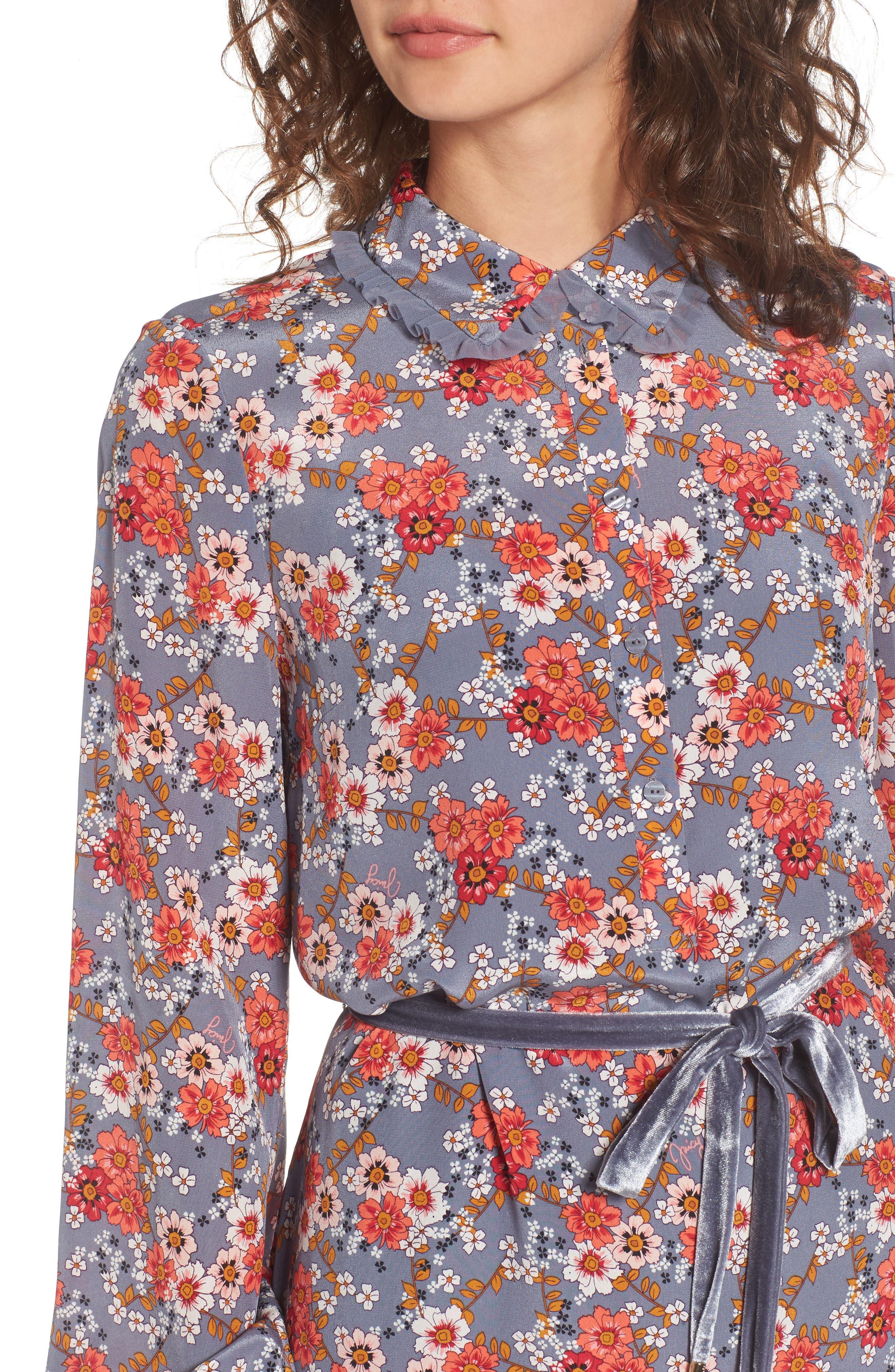 Larchmont Blooms Silk Shirtdress,                             Alternate thumbnail 4, color,                             Slate Swirl Larchmonth Blooms