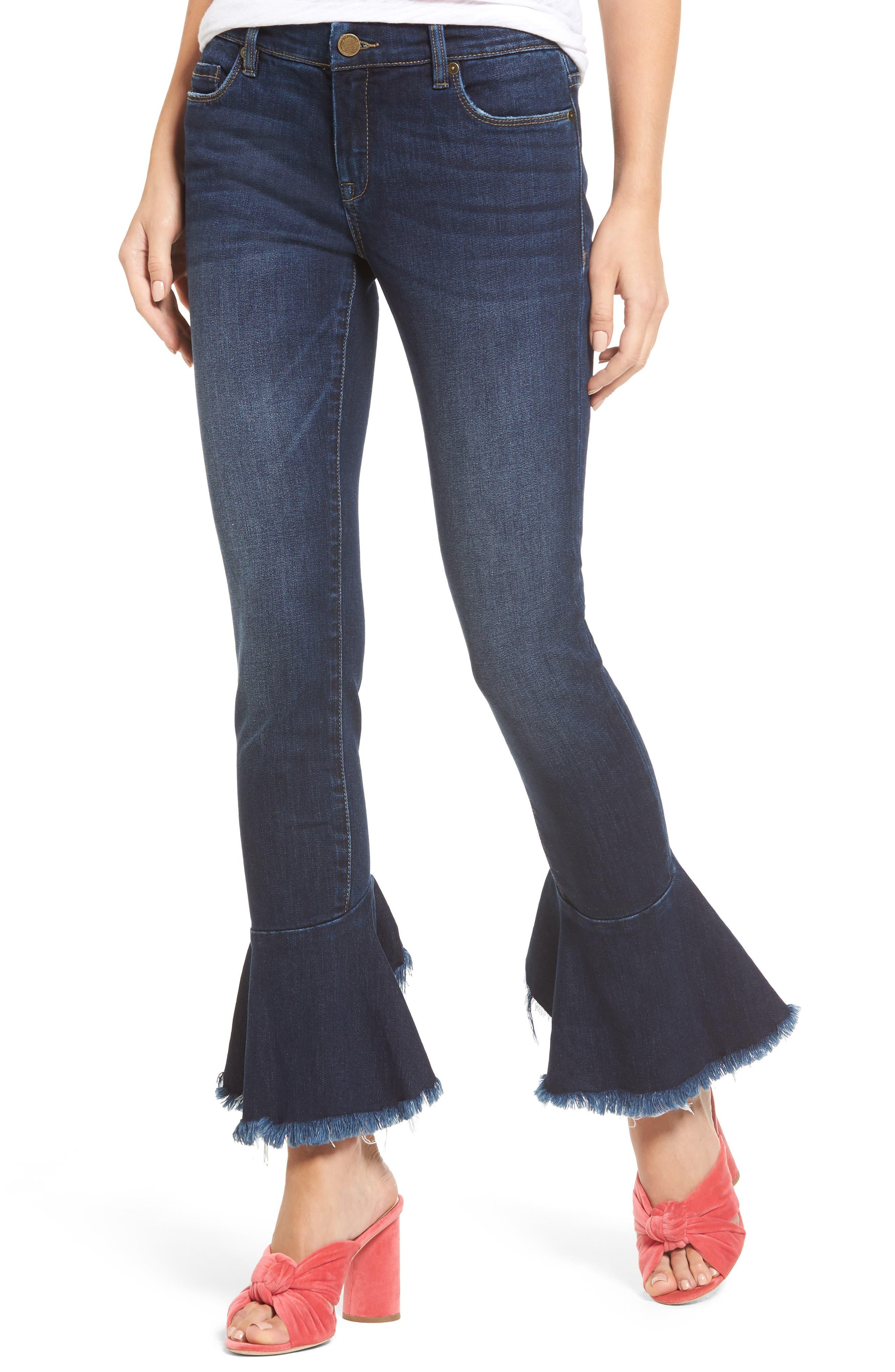BLANKNYC Ruffle Flare Hem Jeans (See No Evil)