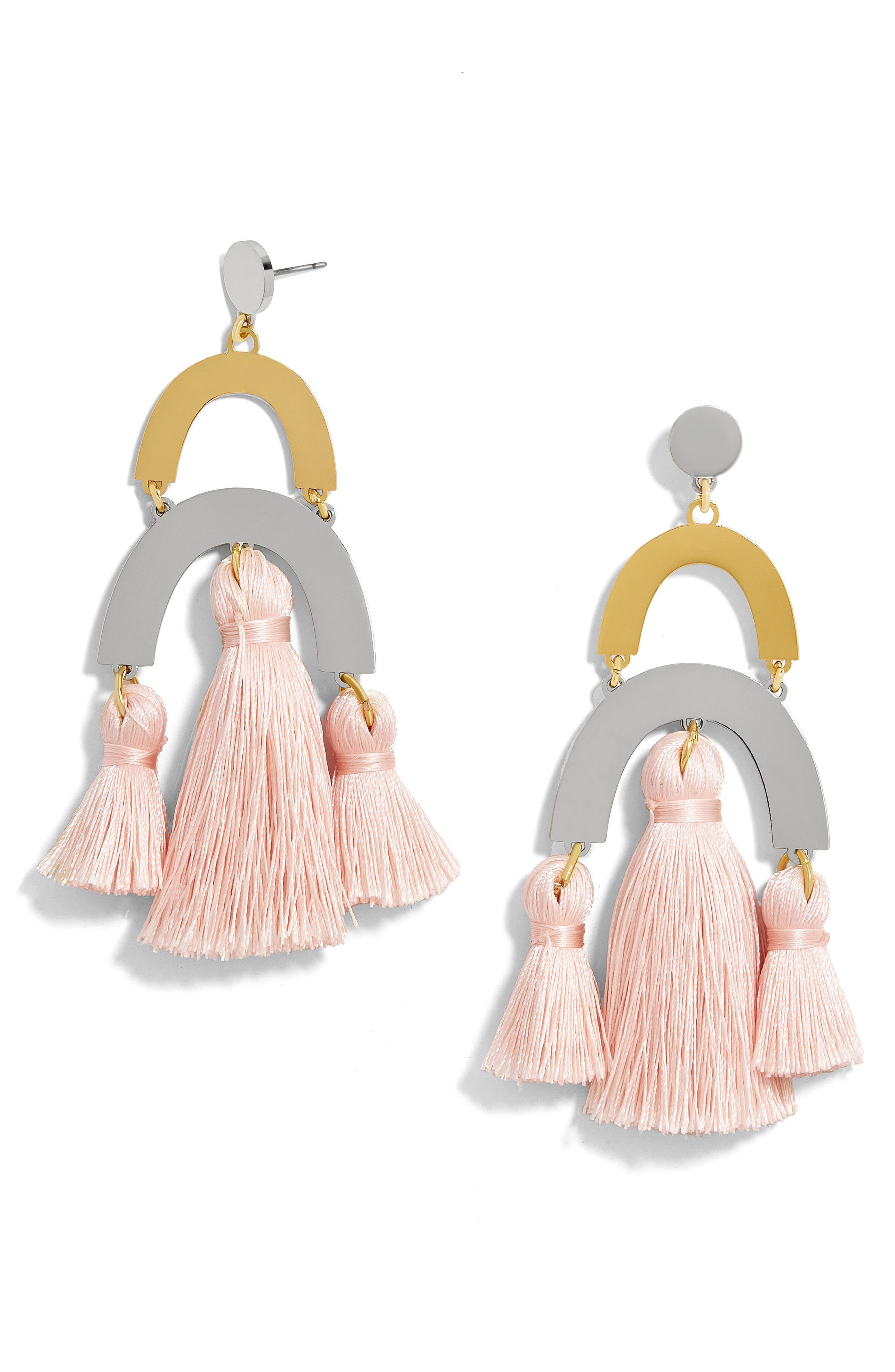 Shamia Tassel Drop Earrings,                             Main thumbnail 1, color,                             Blush