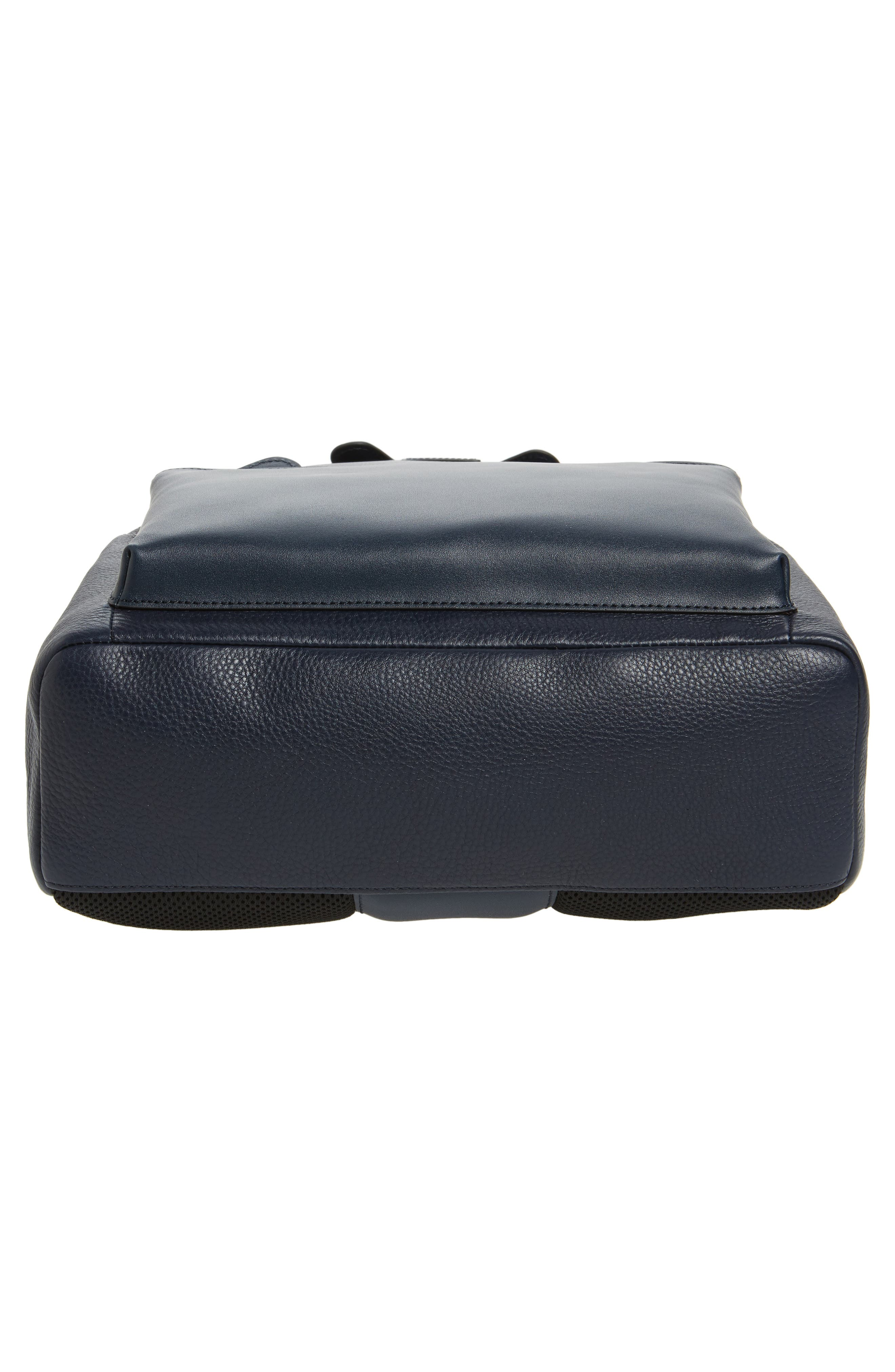 Leather Backpack,                             Alternate thumbnail 6, color,                             Navy