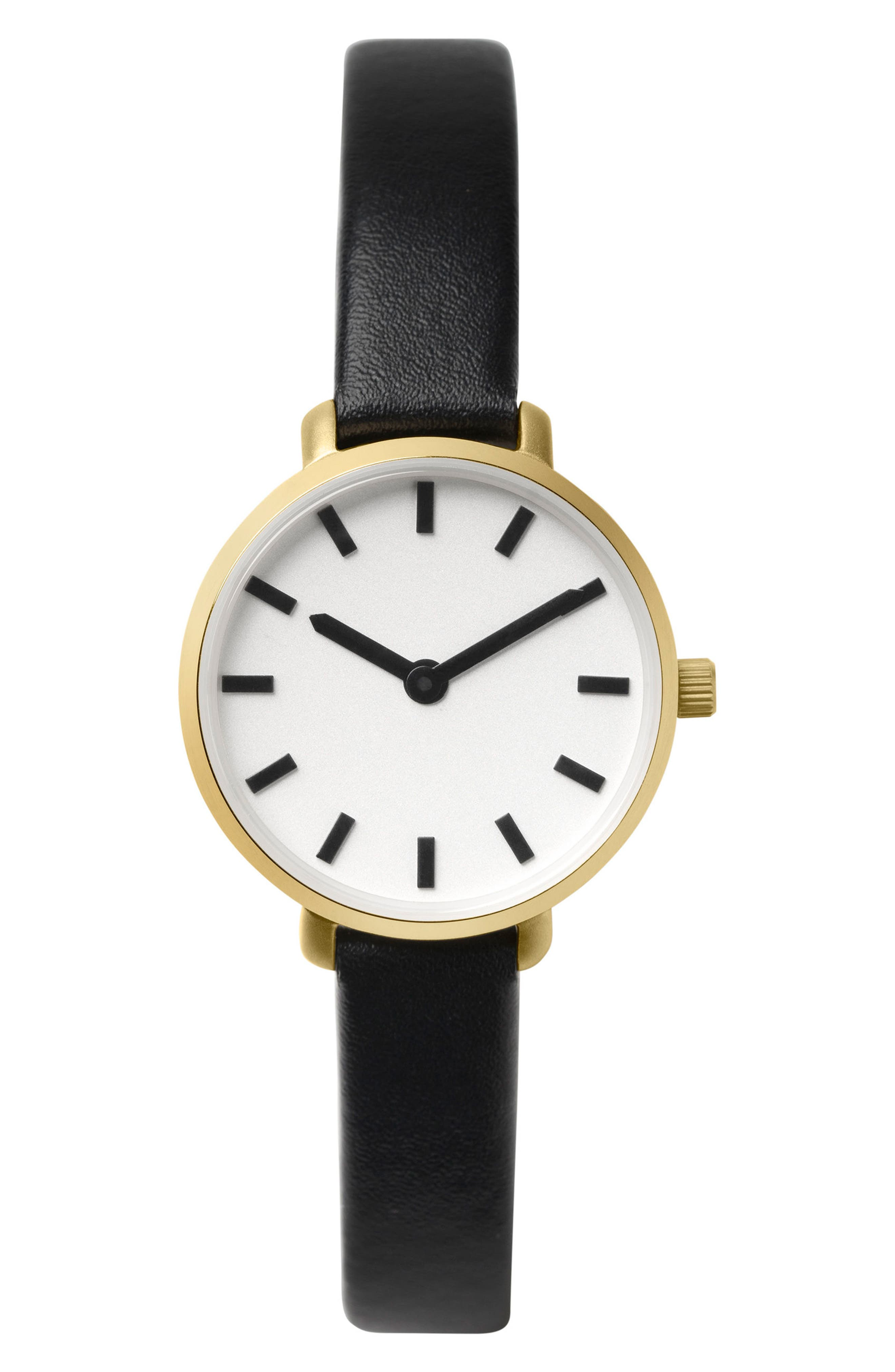Beverly Round Leather Strap Watch, 26mm,                             Main thumbnail 1, color,                             Black/ Gold