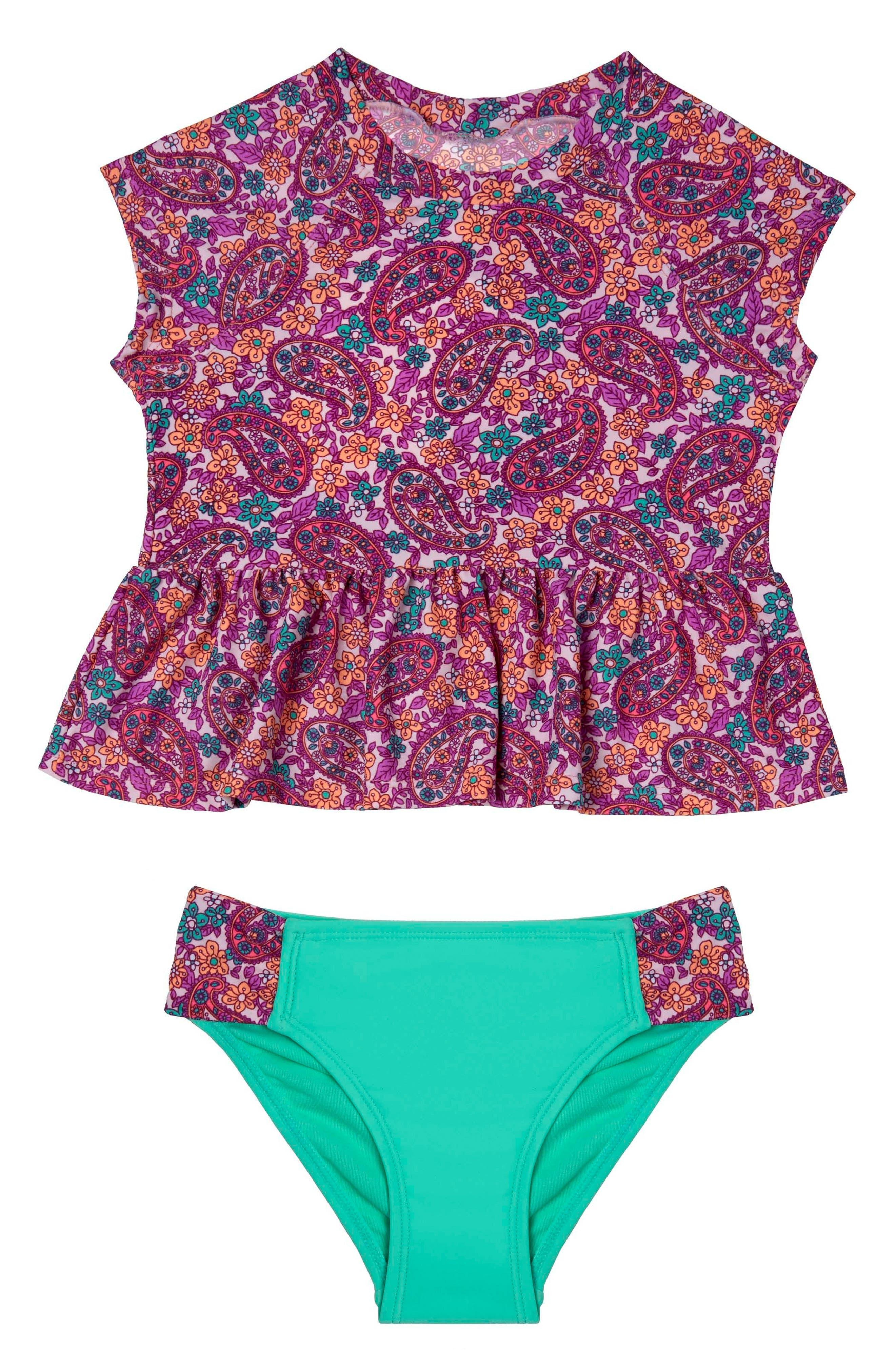 Hula Star Paisley Dream Two-Piece Rashguard Swimsuit (Toddler Girls & Little Girls)