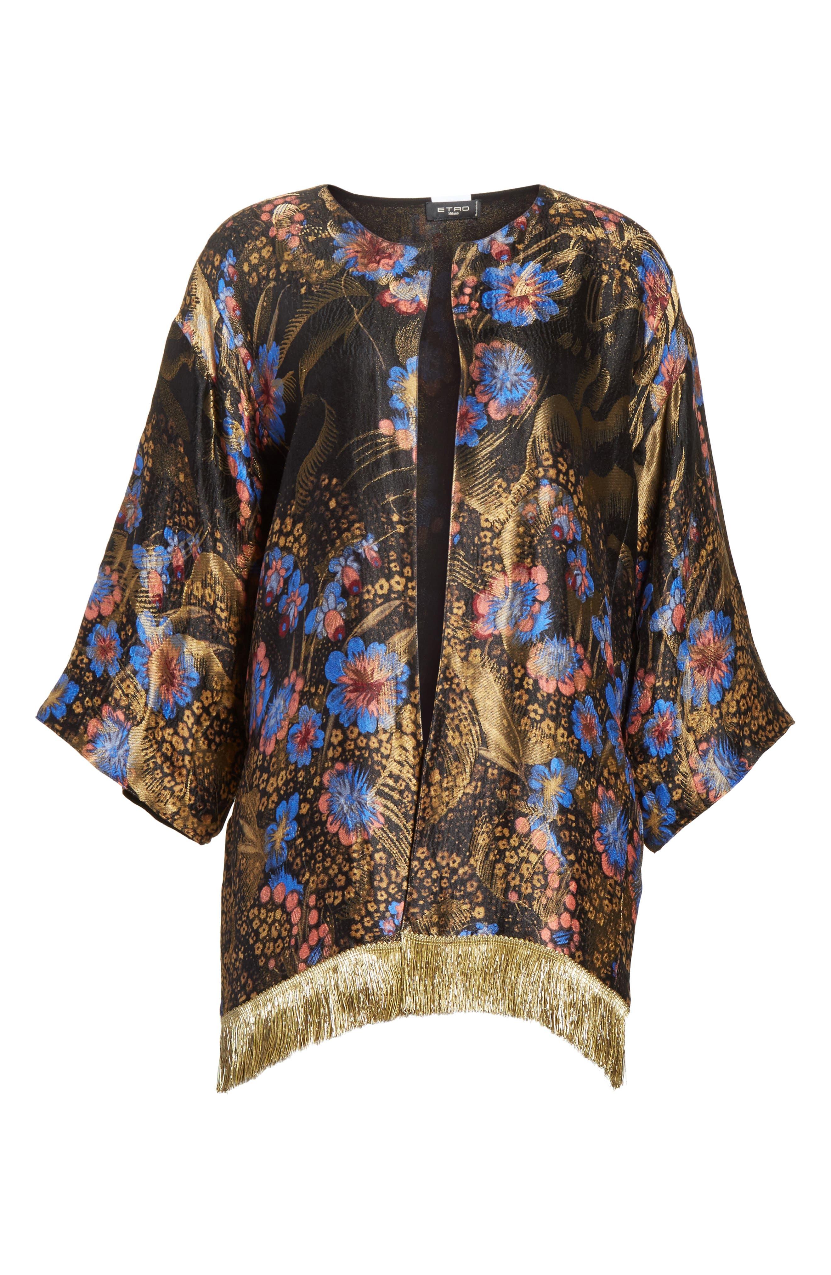 Fringe Trim Metallic Jacquard Jacket,                             Alternate thumbnail 6, color,                             Black