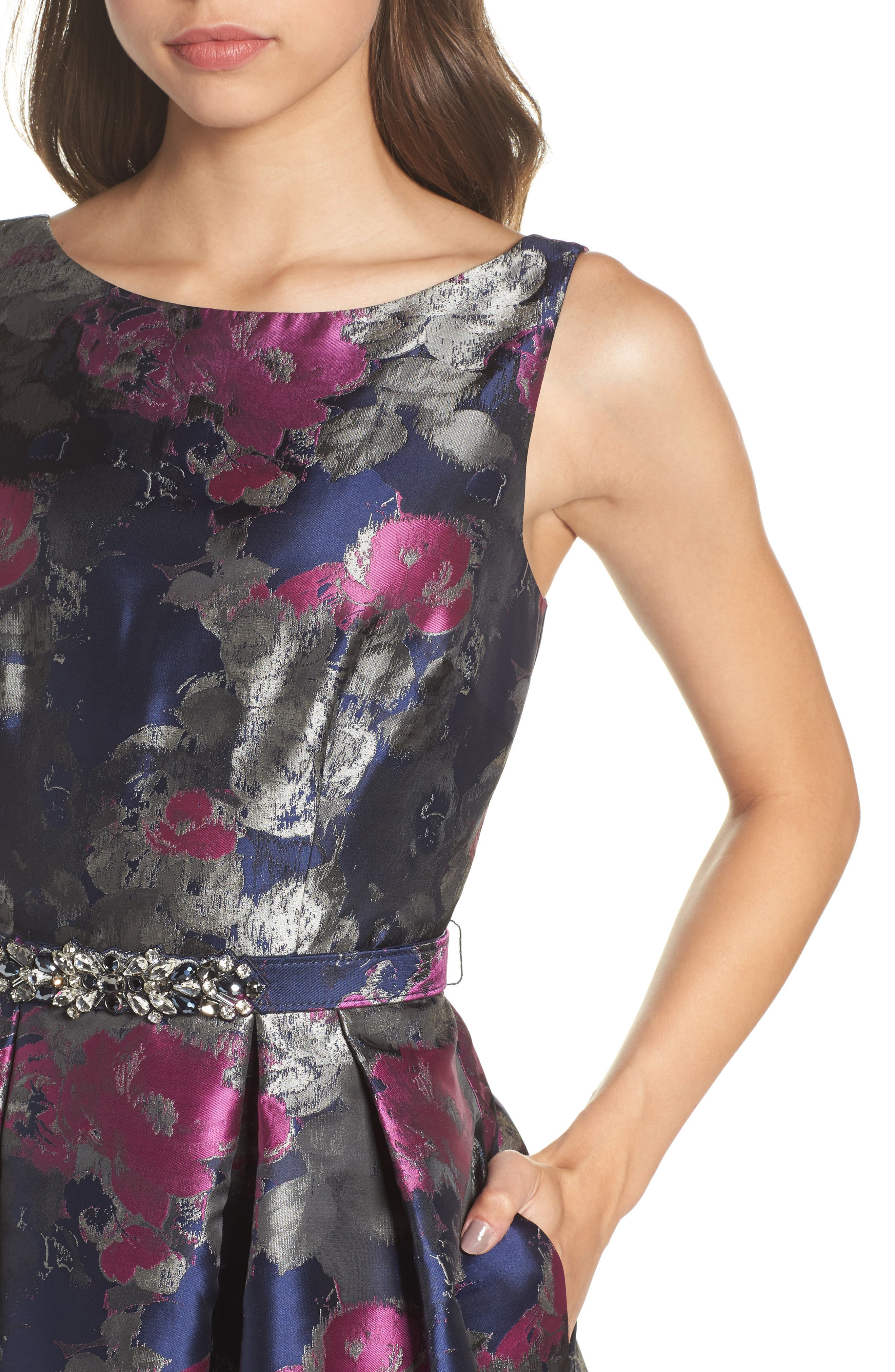 Jacquard Fit & Flare Dress,                             Alternate thumbnail 4, color,                             Navy/ Malbec