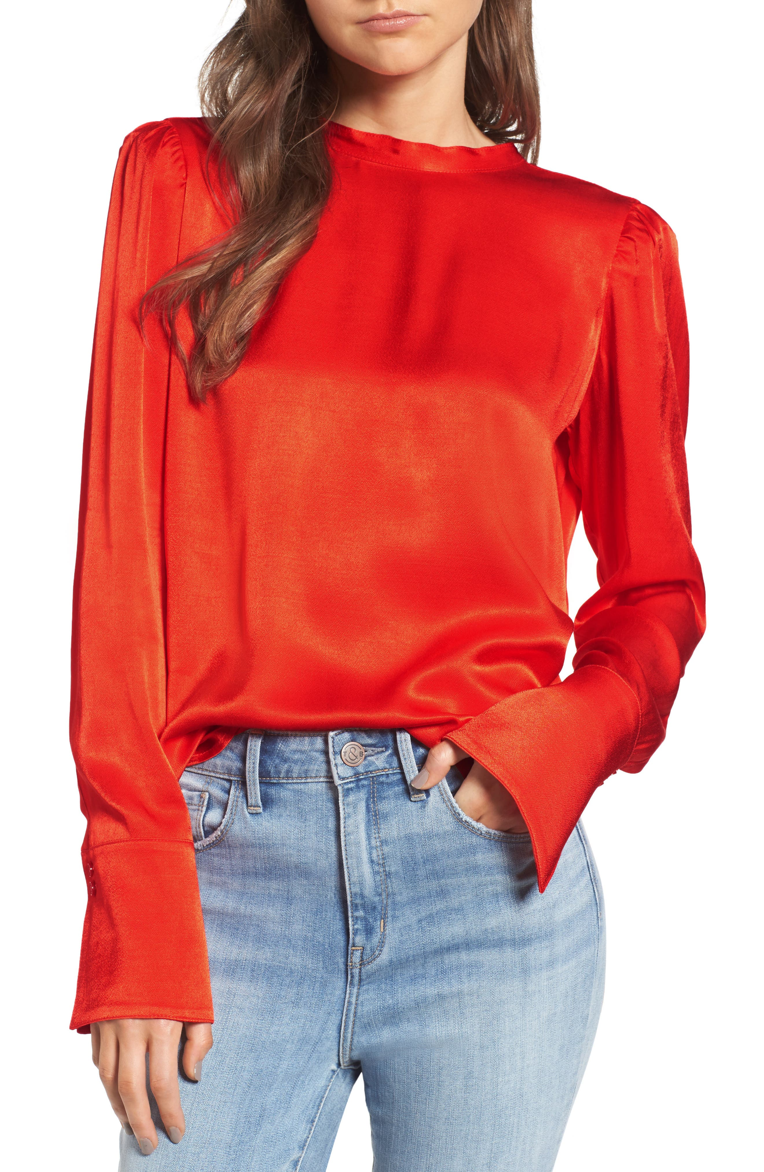 x Something Navy Satin Tunic,                         Main,                         color, Red Fiery