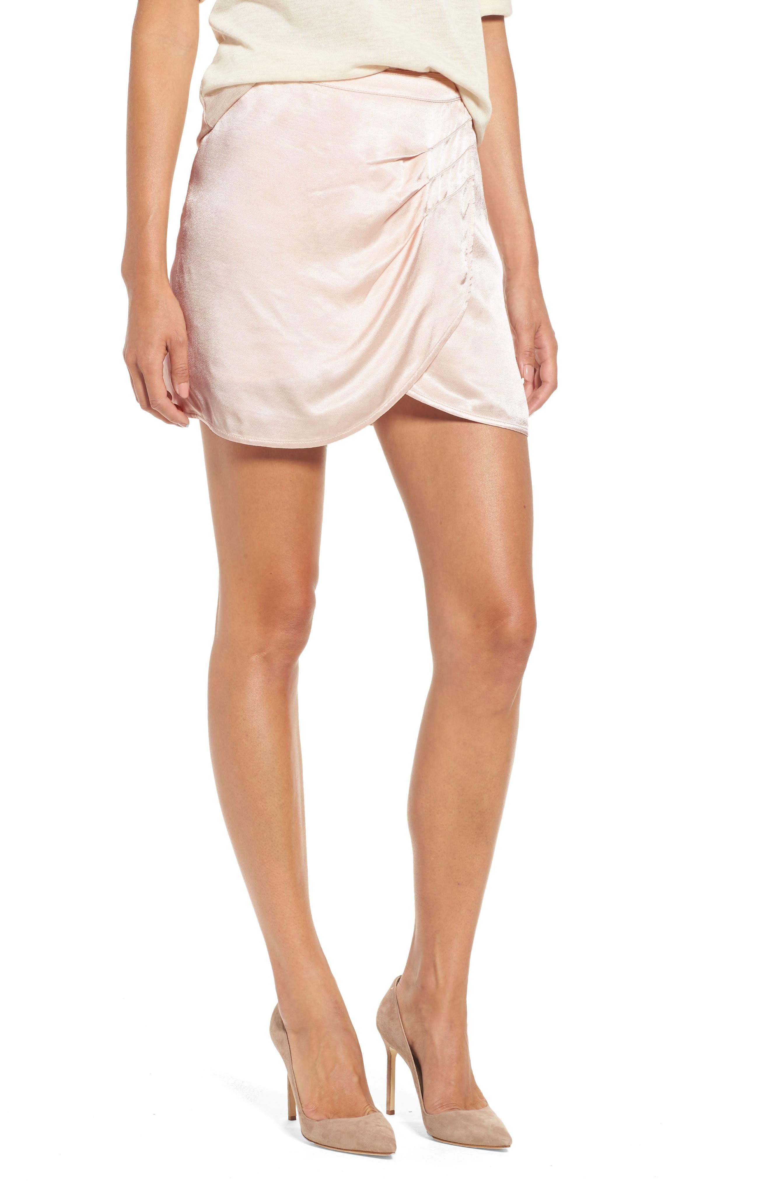 x Something Navy Satin Miniskirt,                         Main,                         color, Beige Whisper