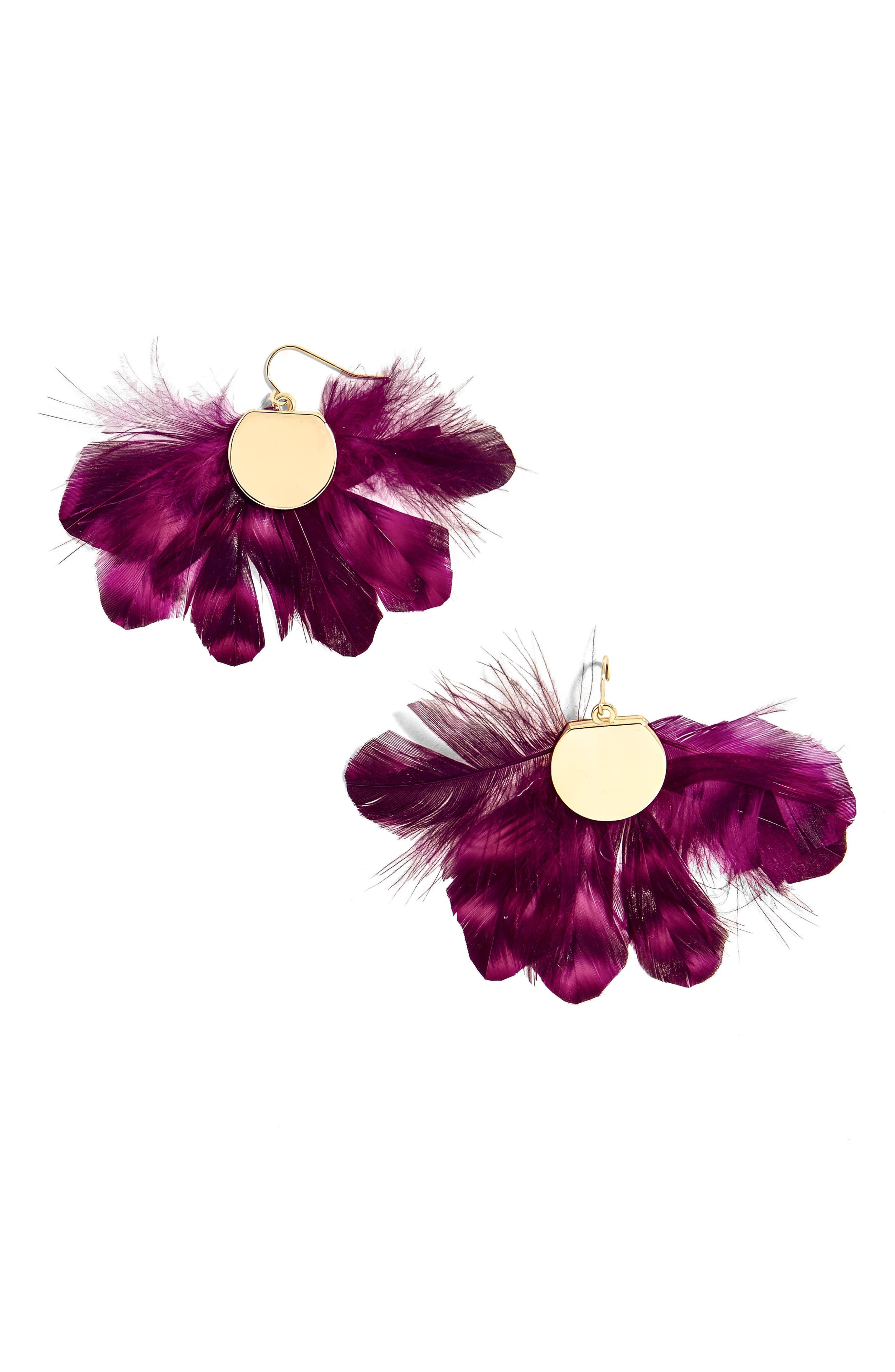 Monarch Feather Statement Earrings,                             Main thumbnail 1, color,                             Fuchsia