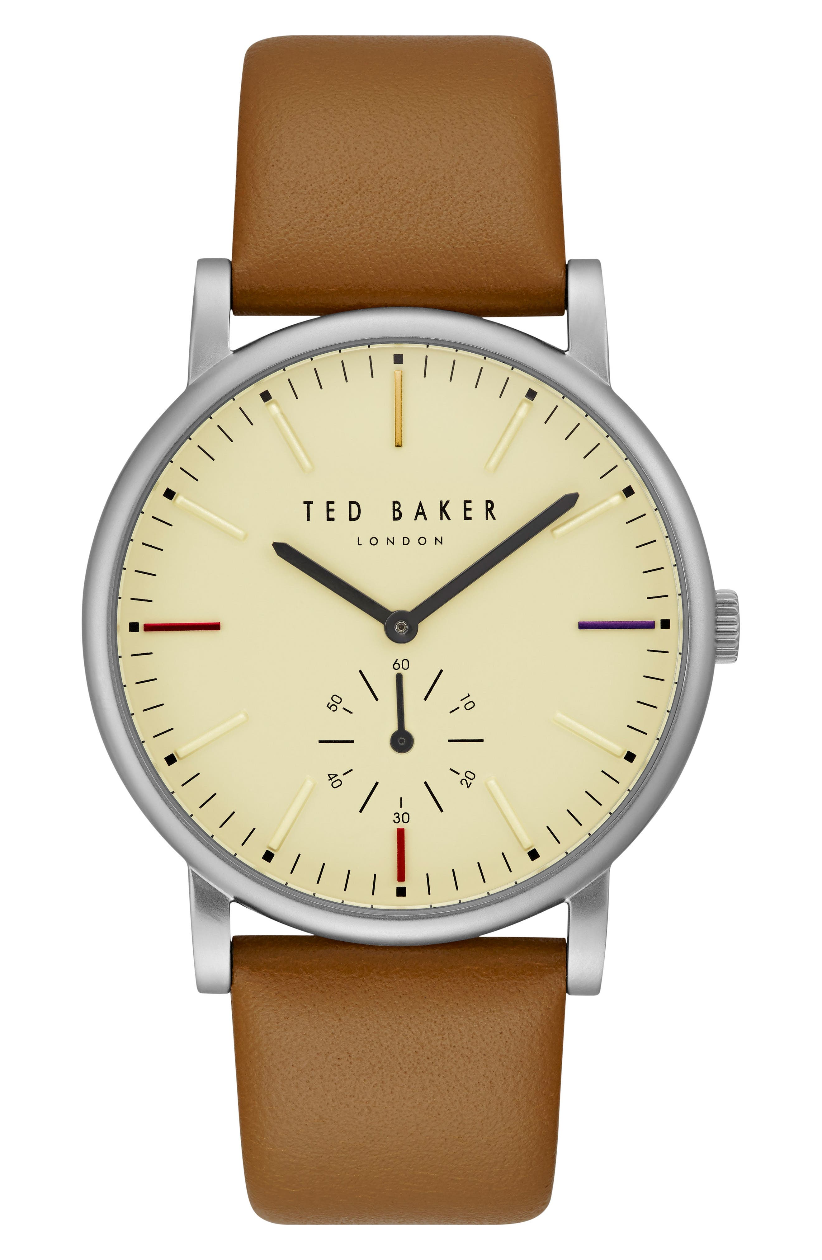 Nolan Subeye Leather Strap Watch, 42mm,                         Main,                         color, Beige/ Brown