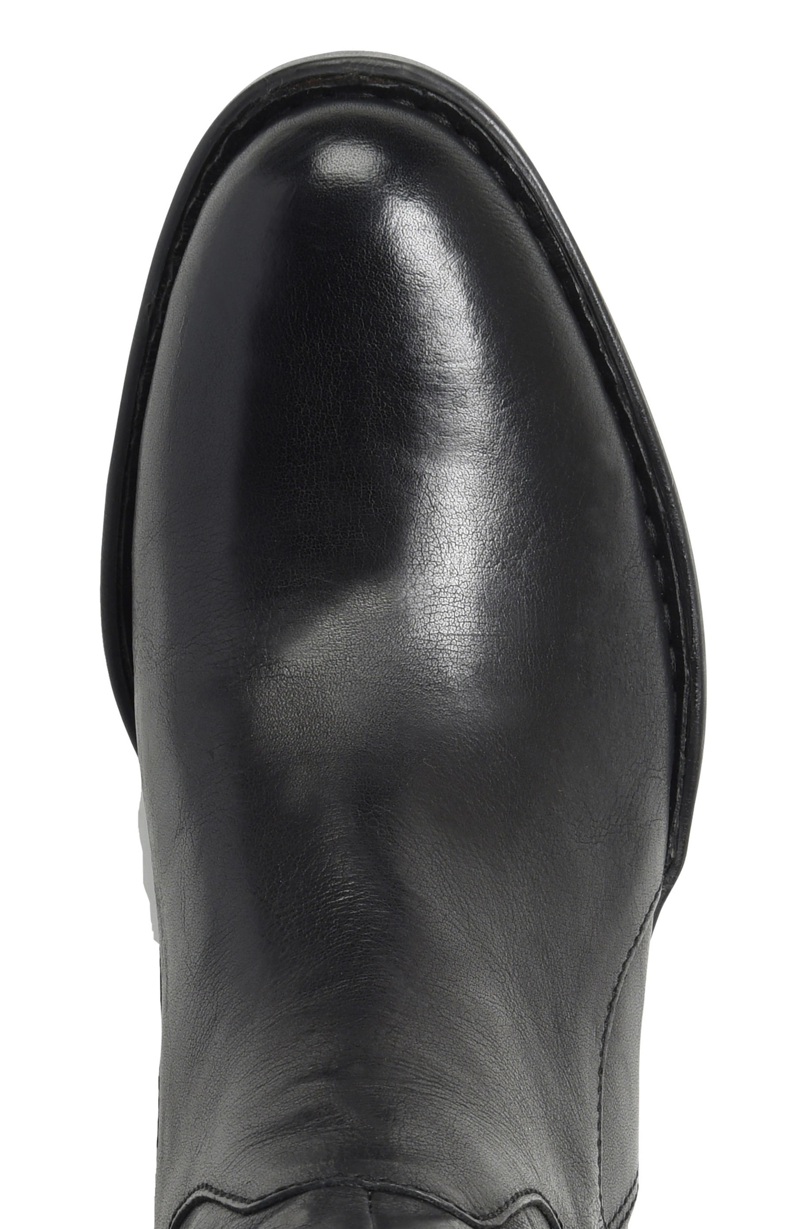 Campbell Knee High Elastic Back Boot,                             Alternate thumbnail 4, color,                             Black Leather