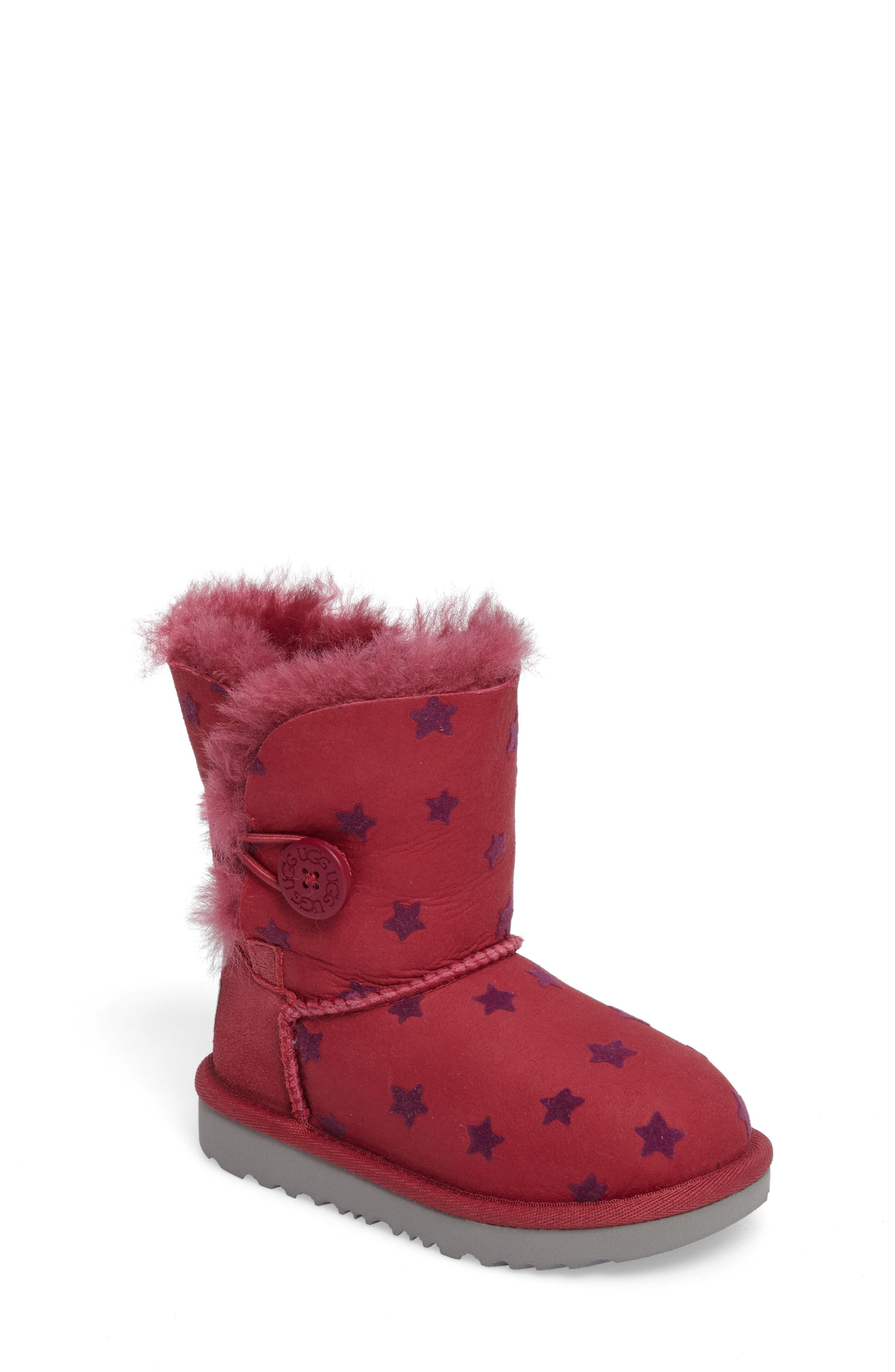 UGG® Bailey Button II Water-Resistant Genuine Shearling Stars Boot (Walker, Toddler, Little Kid & Big Kid)