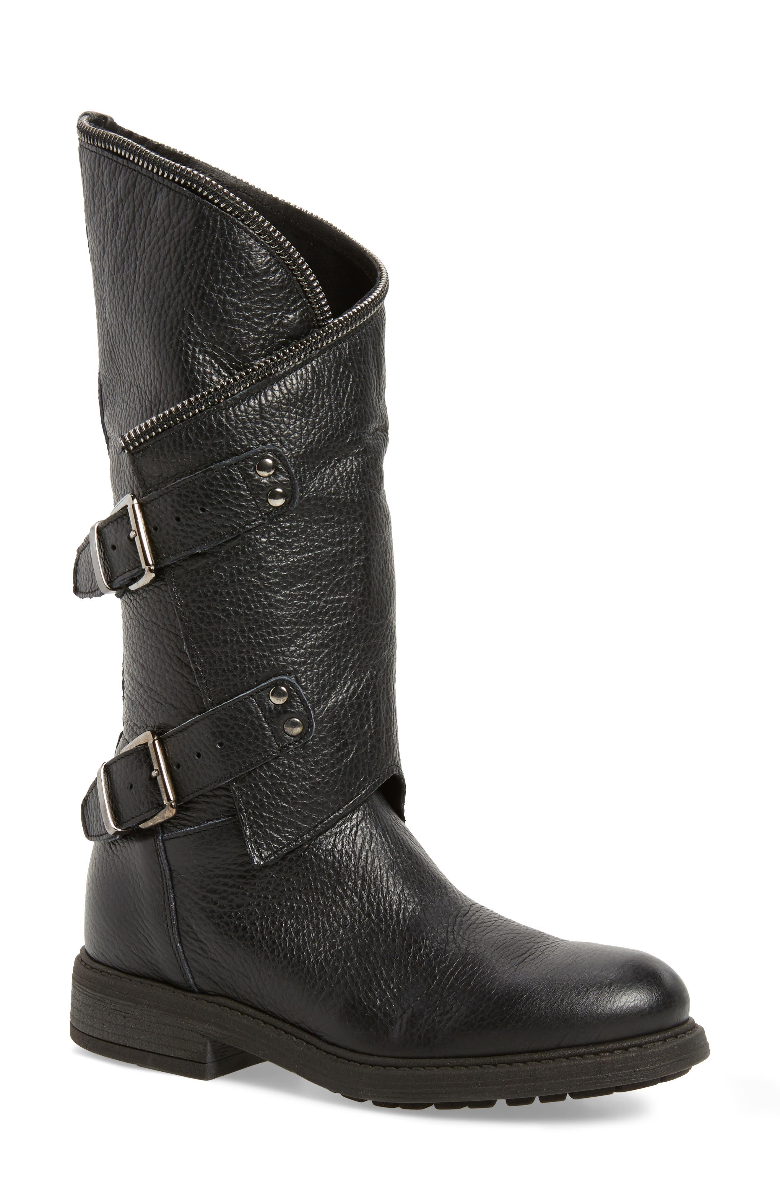 Bray Asymmetrical Zip Boot,                             Main thumbnail 1, color,                             Black Leather