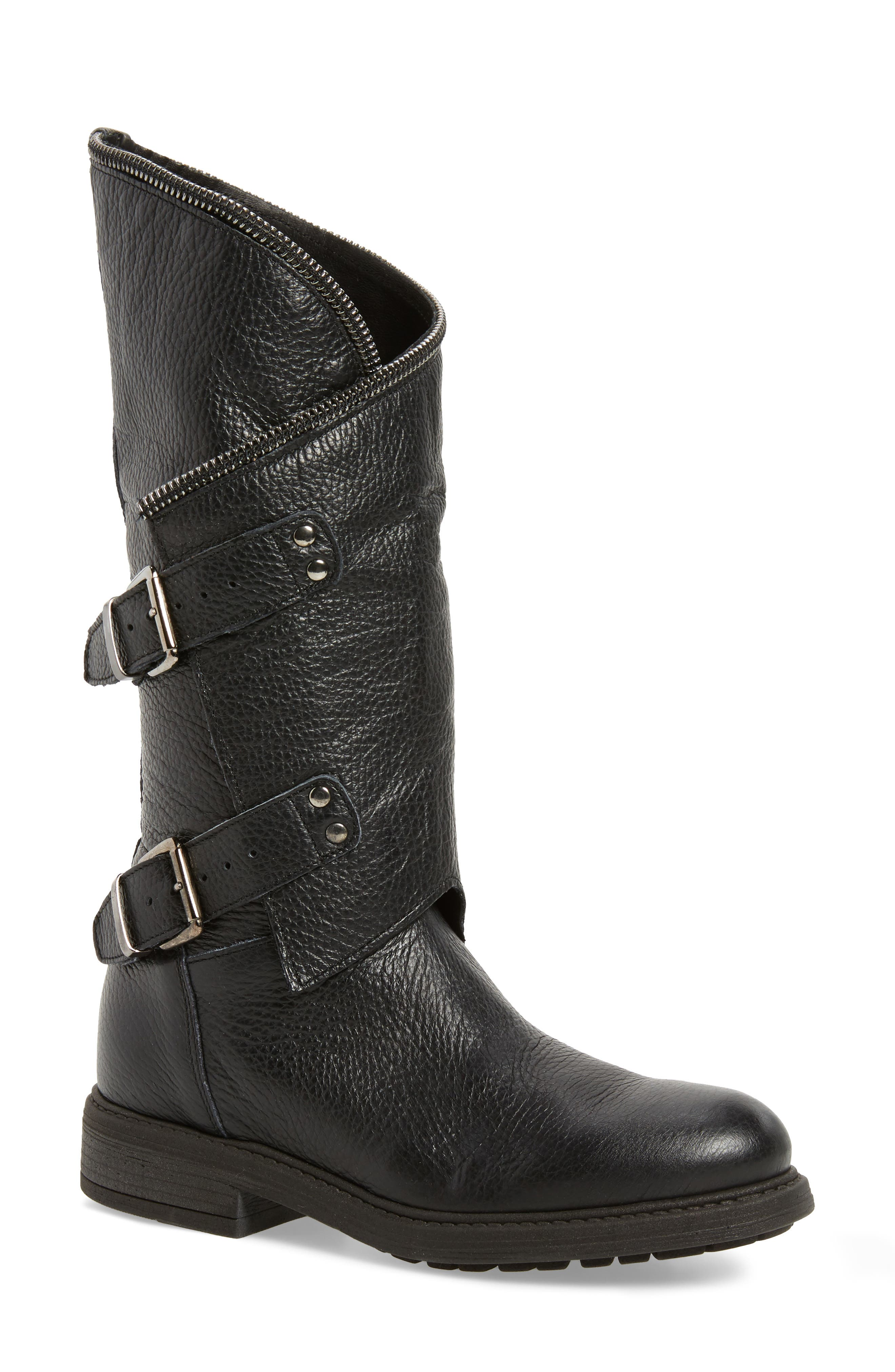 Bray Asymmetrical Zip Boot,                         Main,                         color, Black Leather