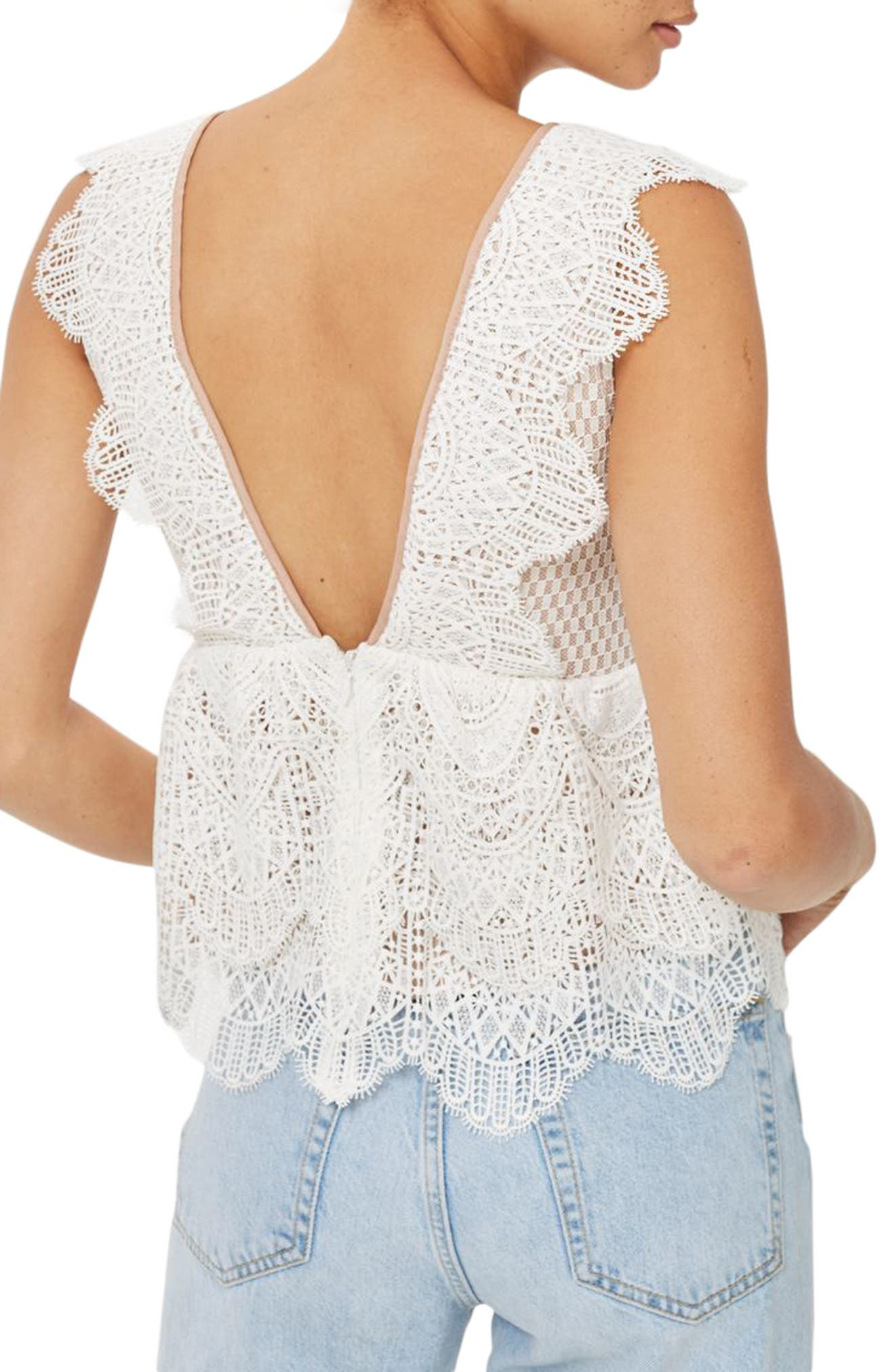 Alternate Image 2  - Topshop Plunging Lace Peplum Top