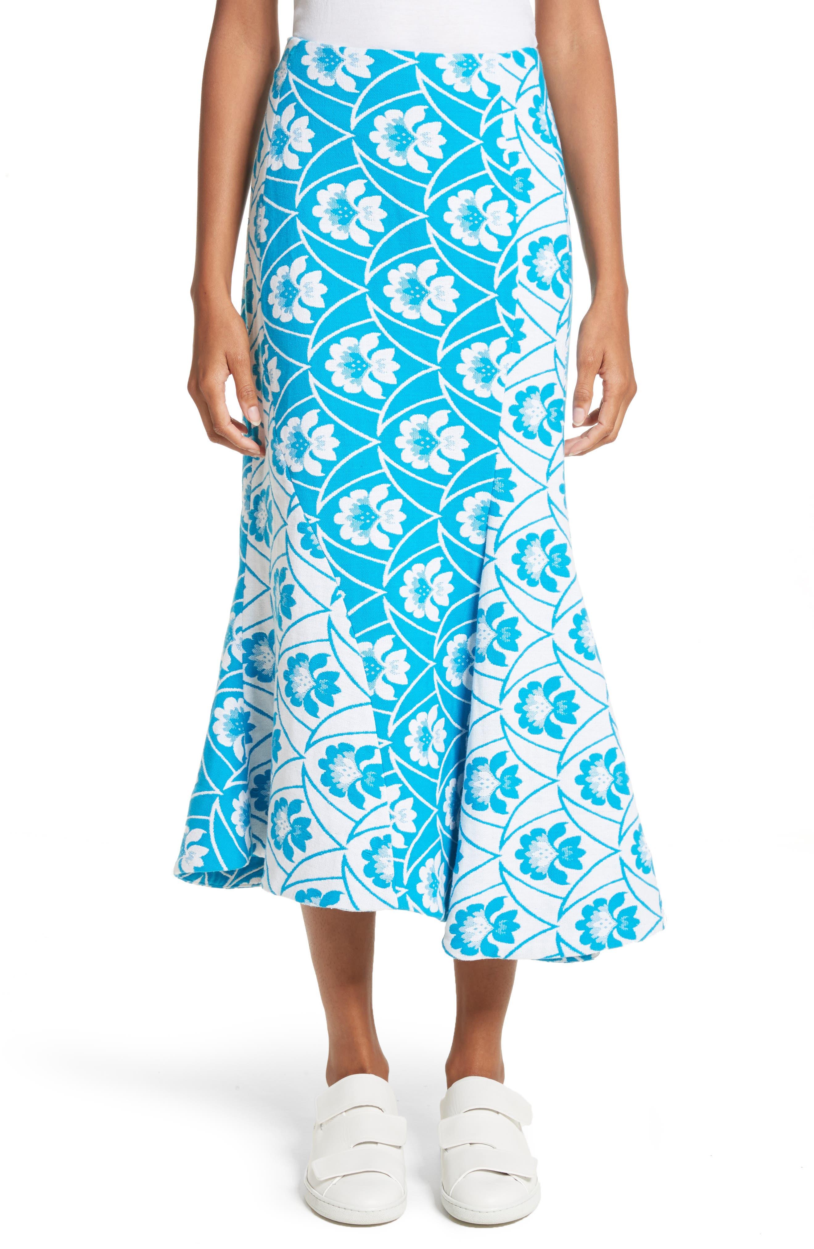 Twist Seam Flare Hem Skirt,                         Main,                         color, Blue White