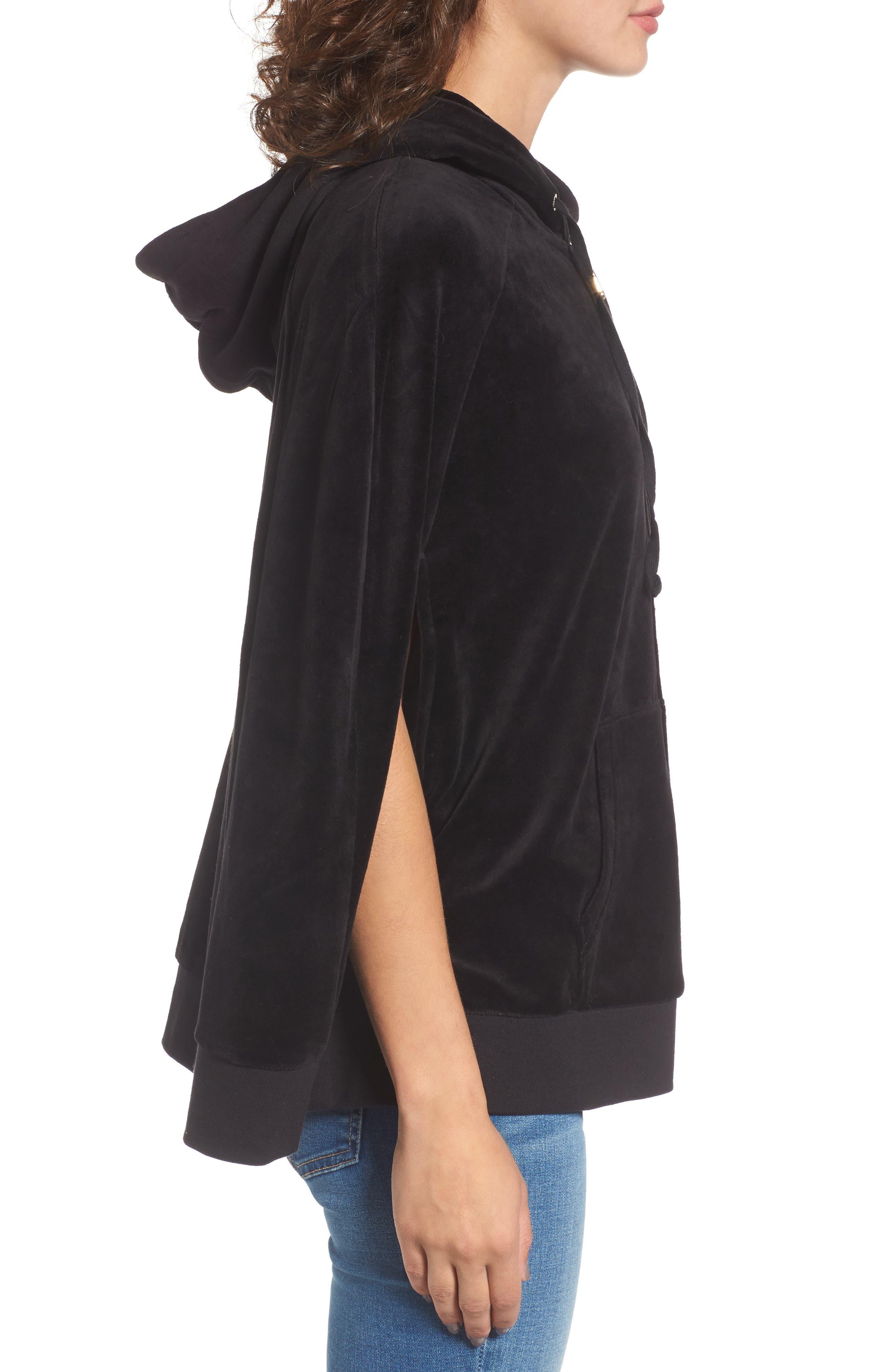 Velour Cape Jacket,                             Alternate thumbnail 3, color,                             Pitch Black