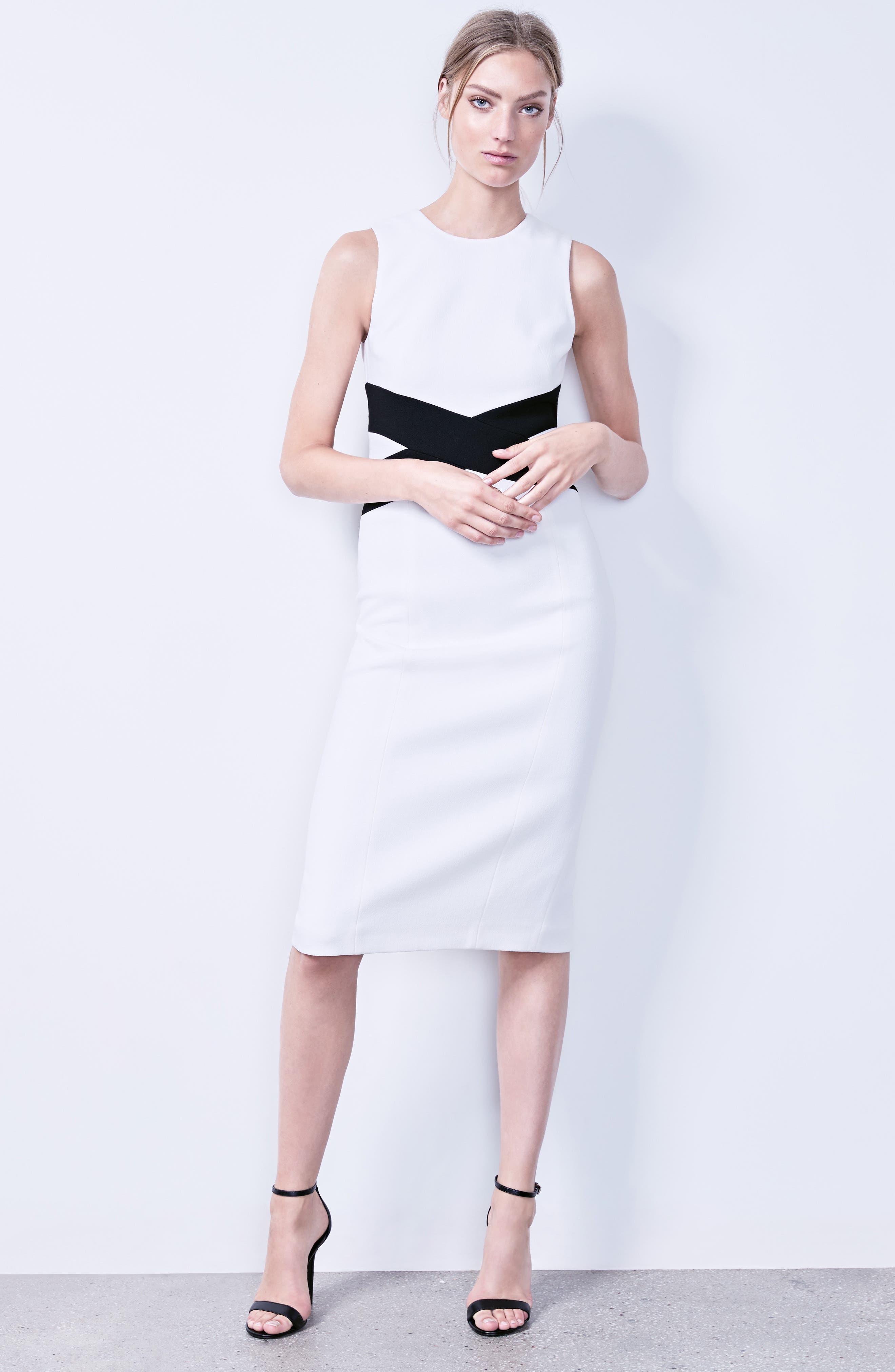 Alternate Image 2  - Michael Kors Contrast Stretch Bouclé Crepe Sheath Dress