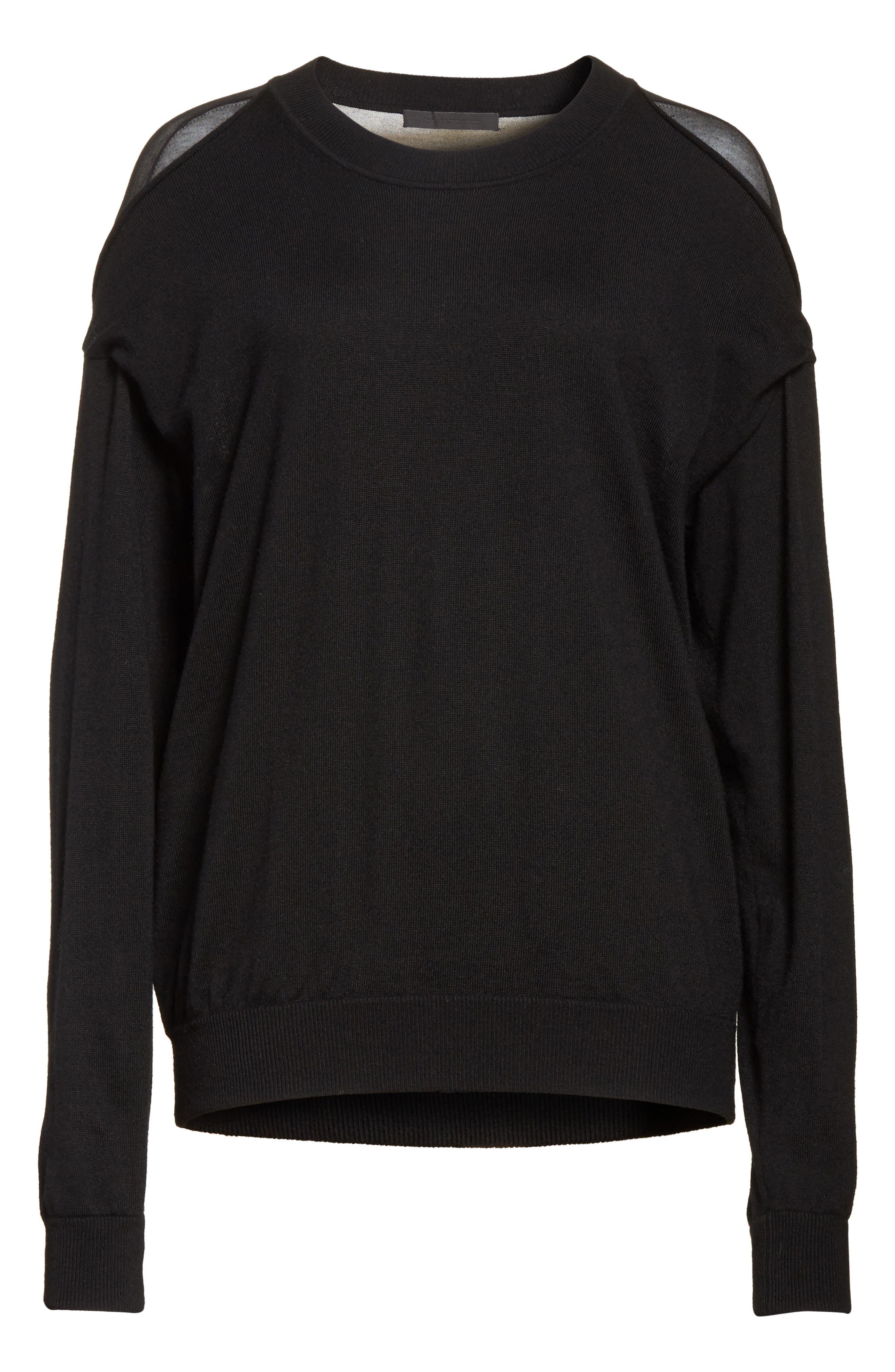 Drape Back Merino Wool Sweater,                             Alternate thumbnail 6, color,                             Black