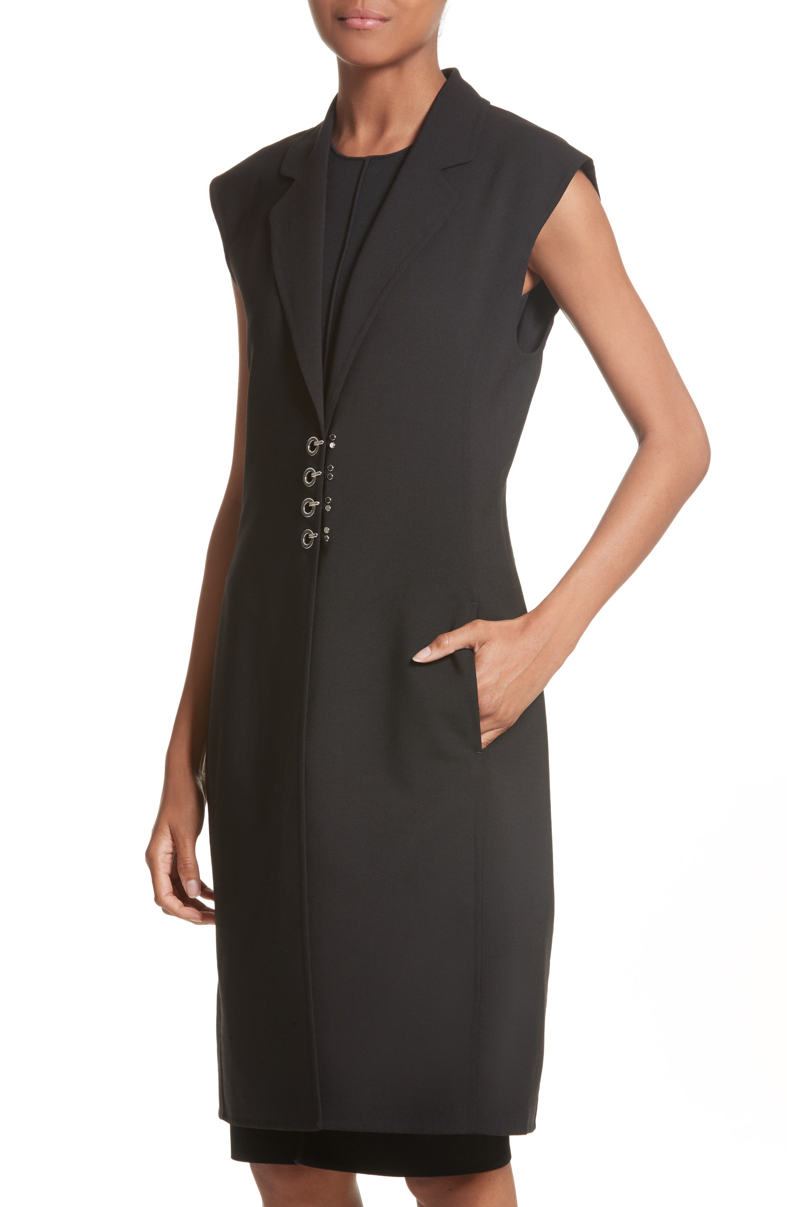 Hook Detail Stretch Wool Long Vest,                             Alternate thumbnail 4, color,                             Black/ Black