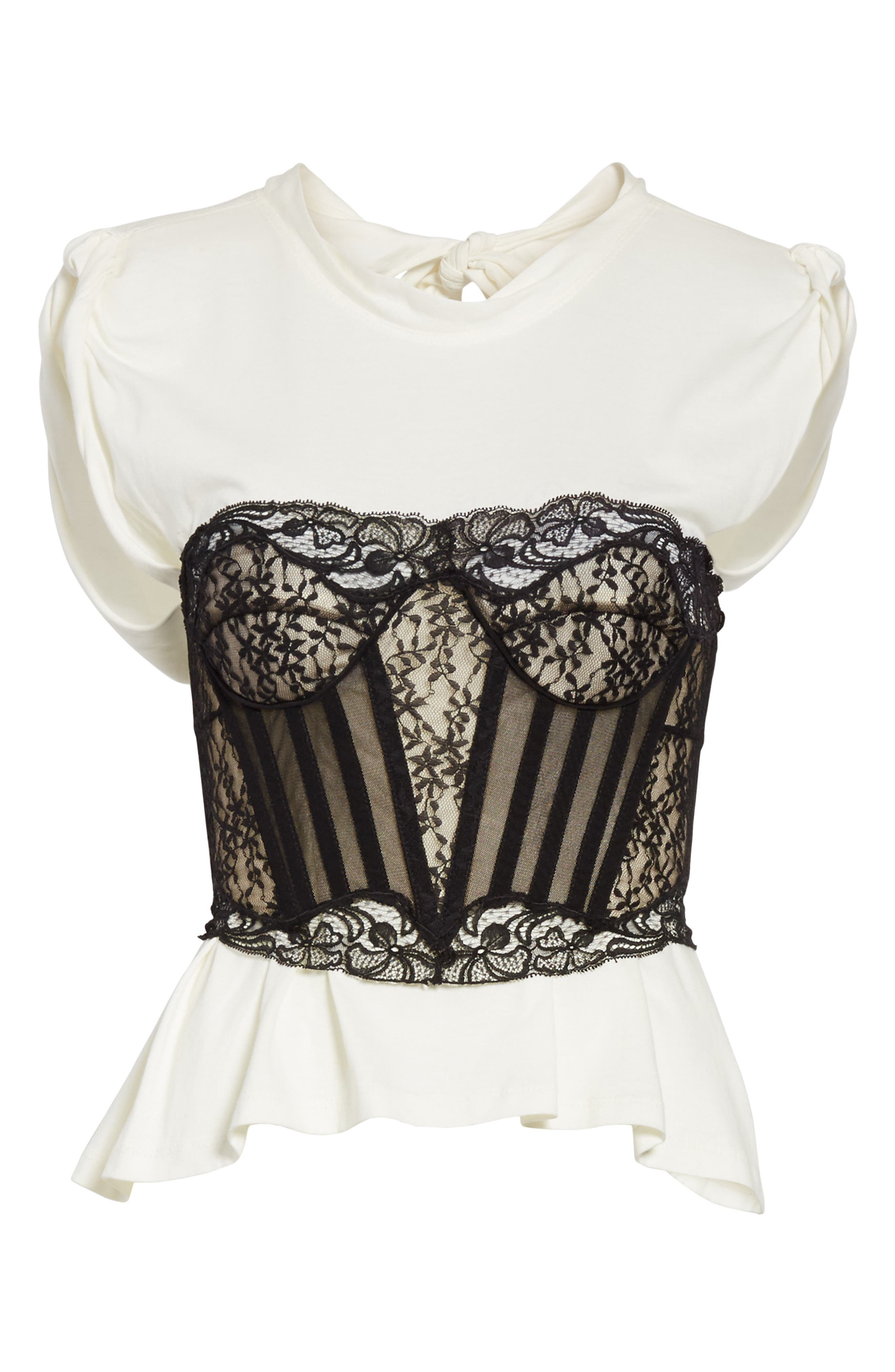 Cotton Top with Lace Bustier,                             Alternate thumbnail 6, color,                             Ivory