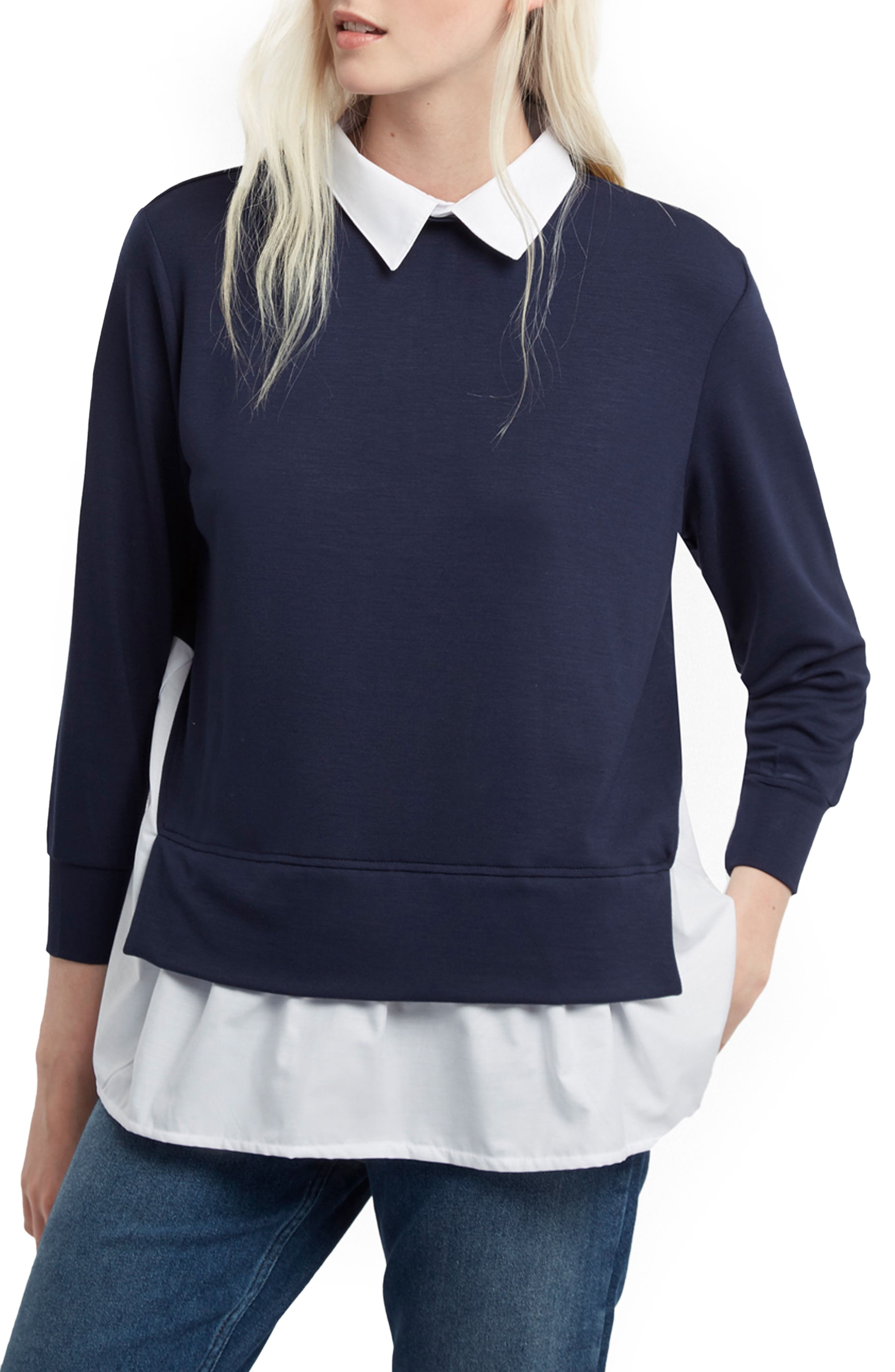 French Connection Fresh Jersey Layer Look Shirt