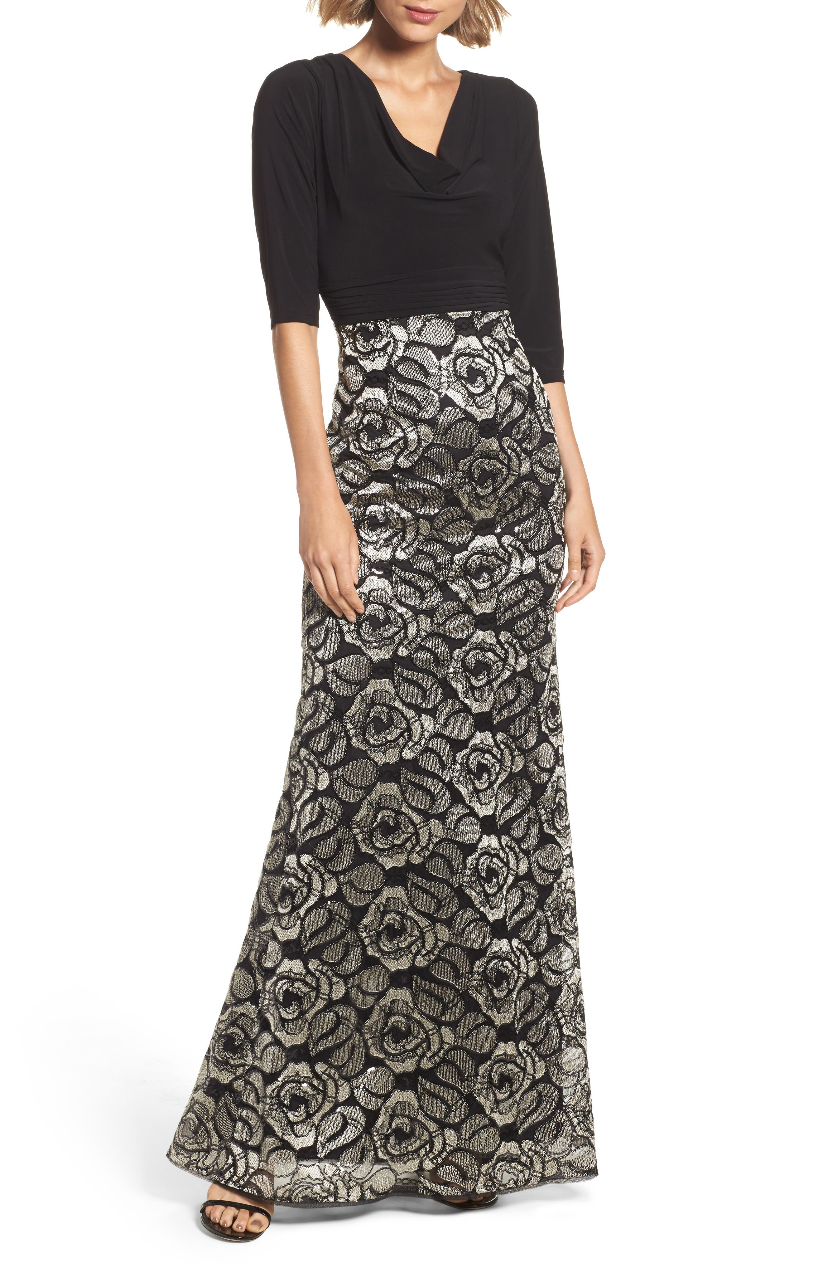 Adrianna Papell Cowl Neck Rose Lace Gown