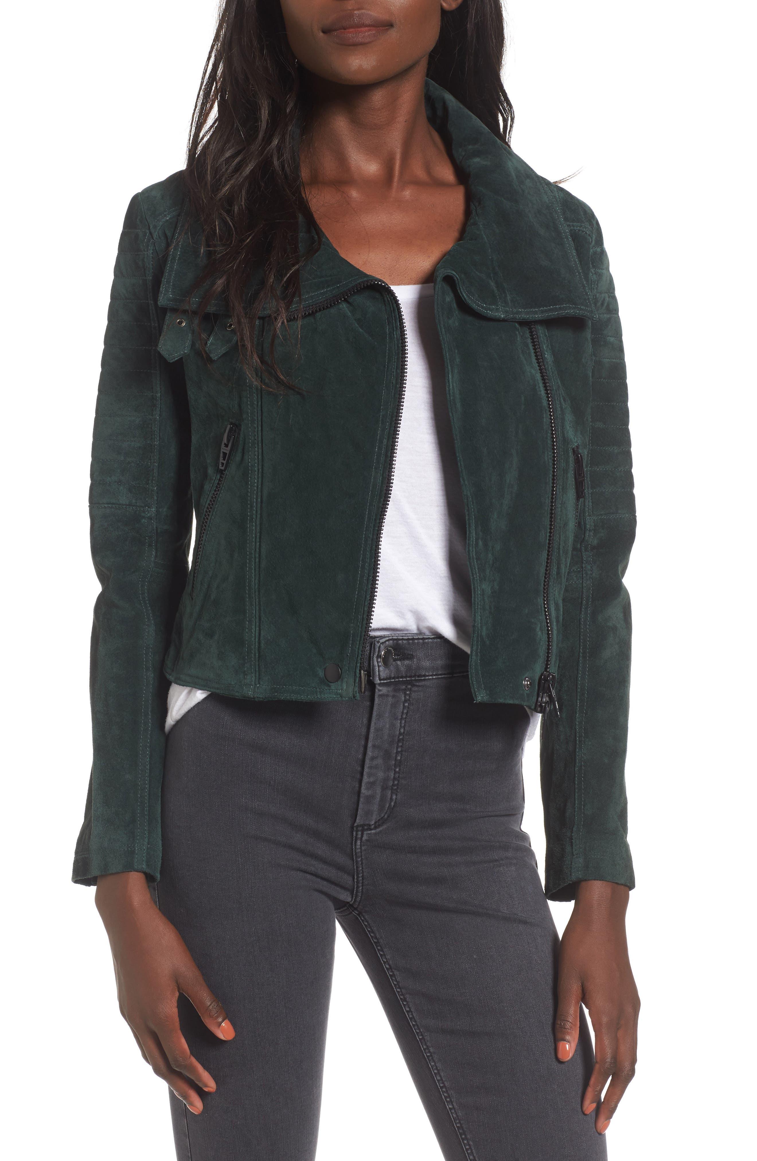 Crop Suede Moto Jacket,                         Main,                         color, Evergreen