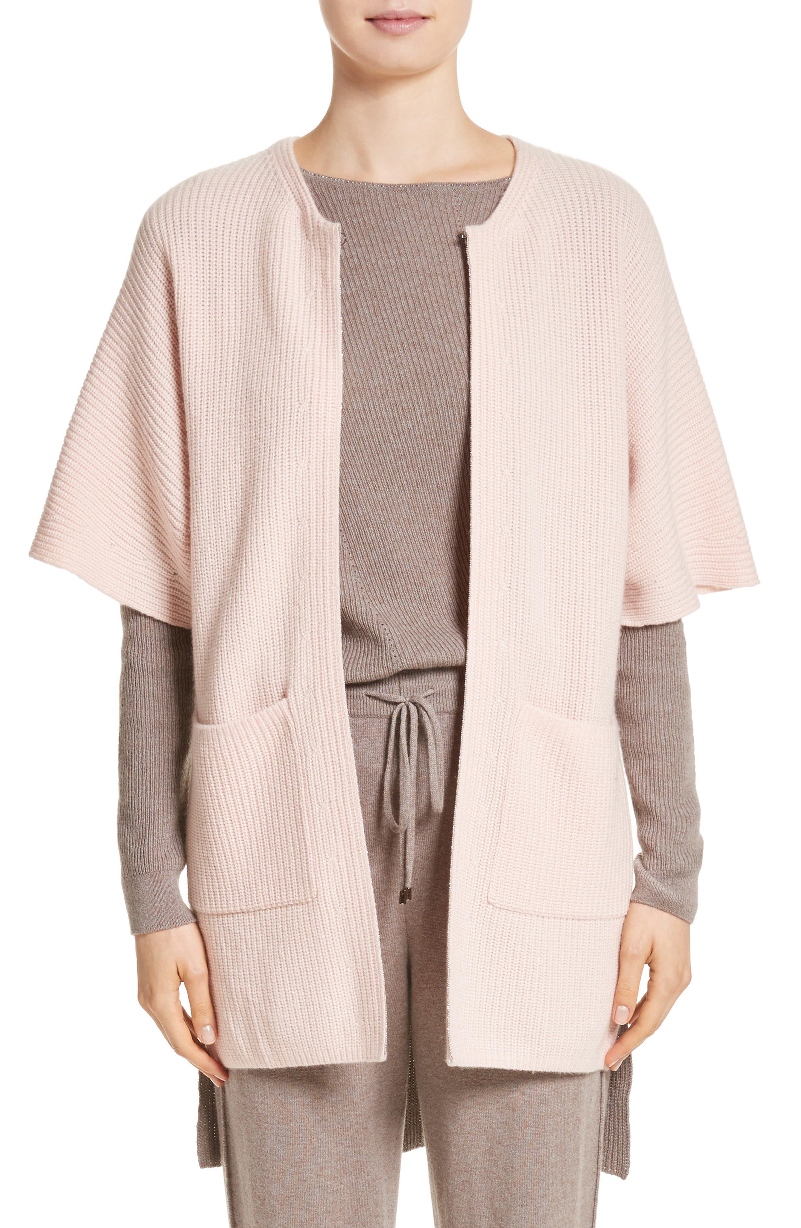 Patch Pocket Cashmere Cardigan,                         Main,                         color, Blush/Travertine
