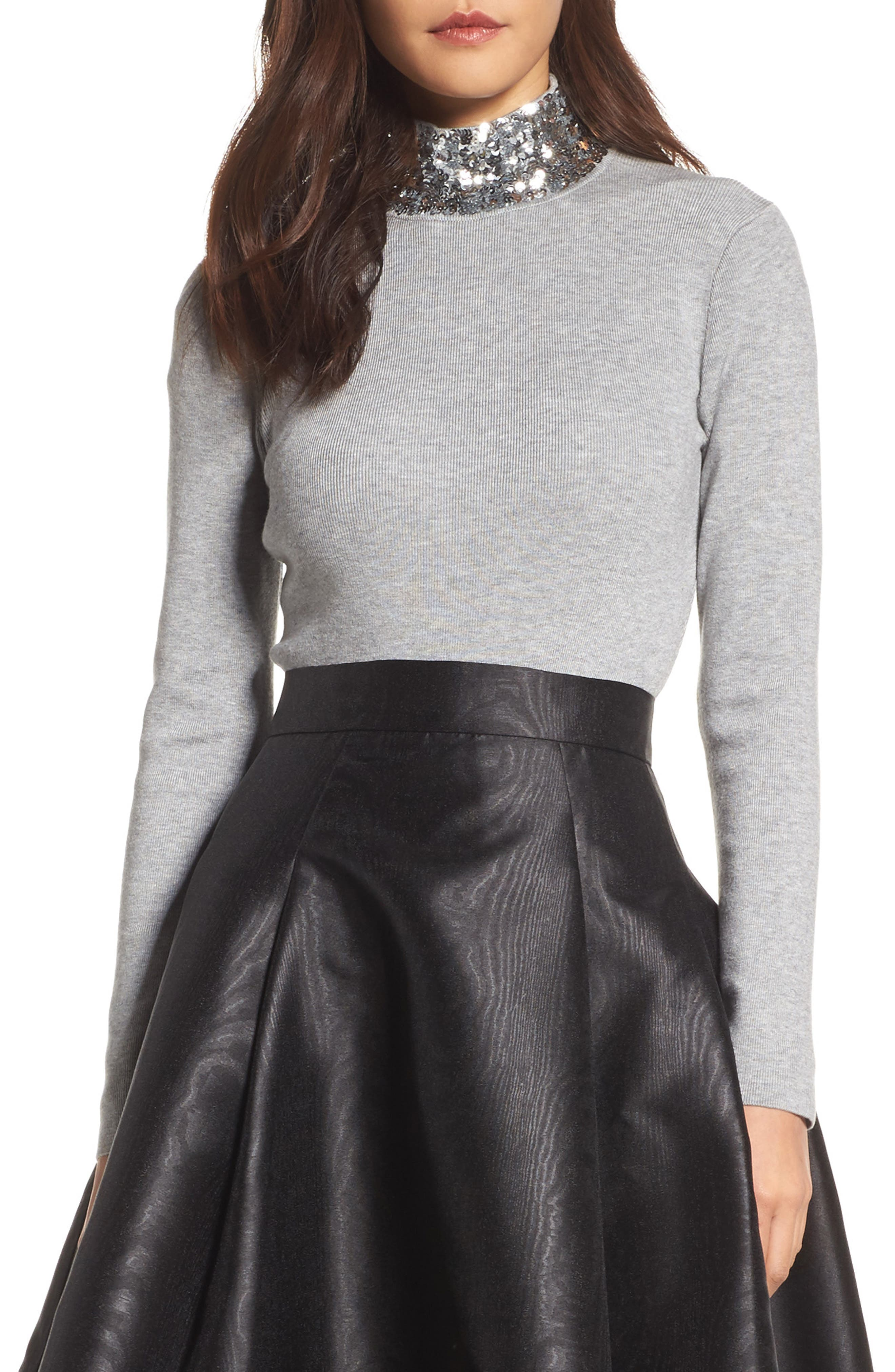 Sequin Mock Neck Sweater,                         Main,                         color, Grey