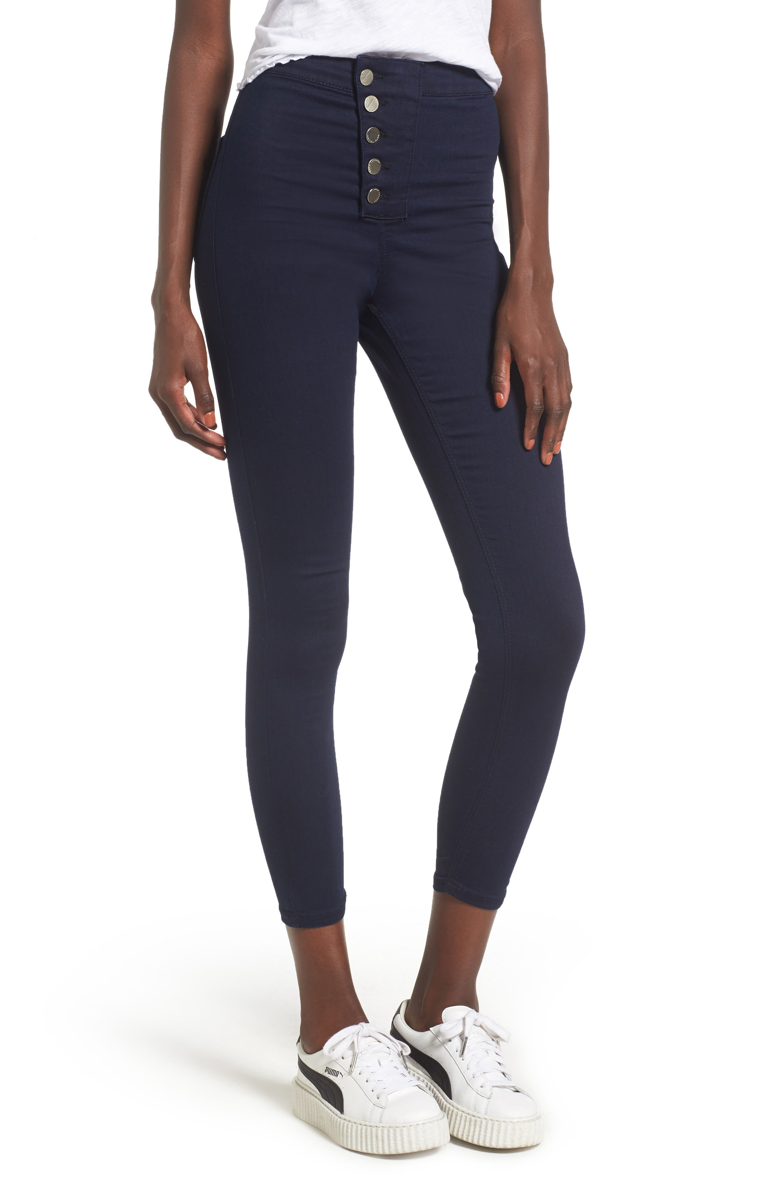 Main Image - Topshop Joni Button Front Skinny Jeans