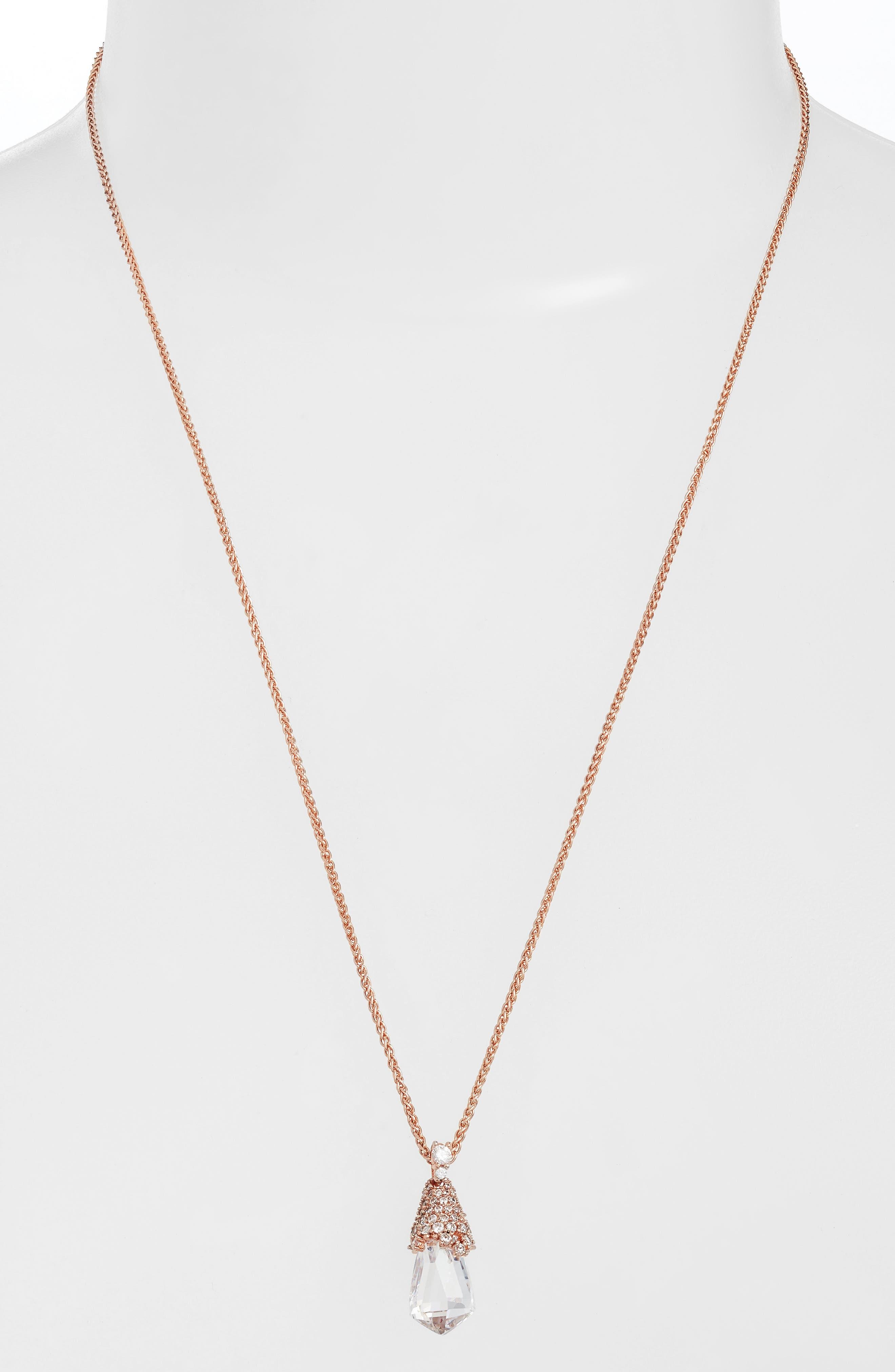 Ella Convertible Teardrop Pendant Necklace,                             Main thumbnail 1, color,                             Rose Gold