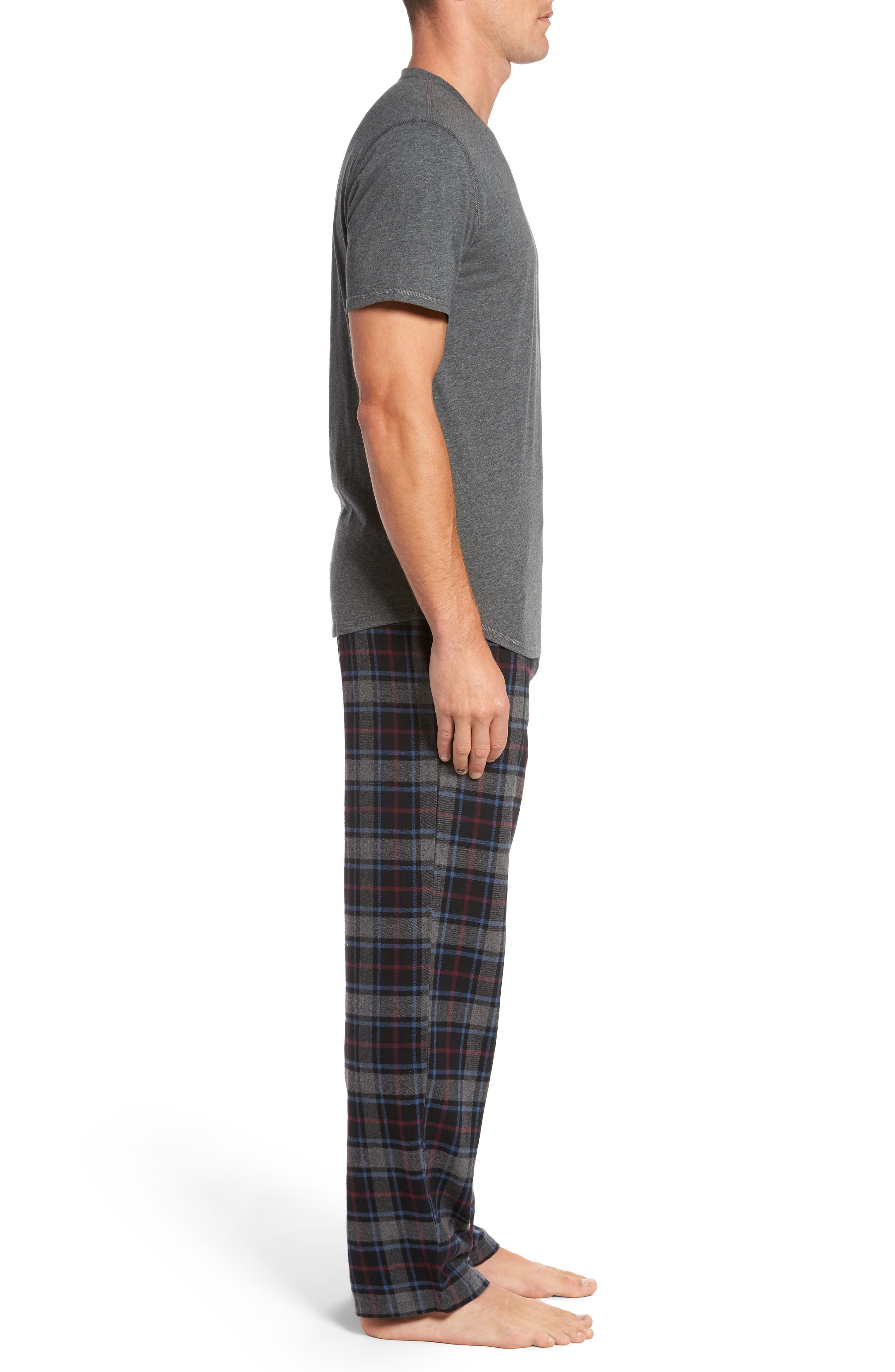 Pajama Set,                             Alternate thumbnail 3, color,                             Black Rock- Grey Plaid