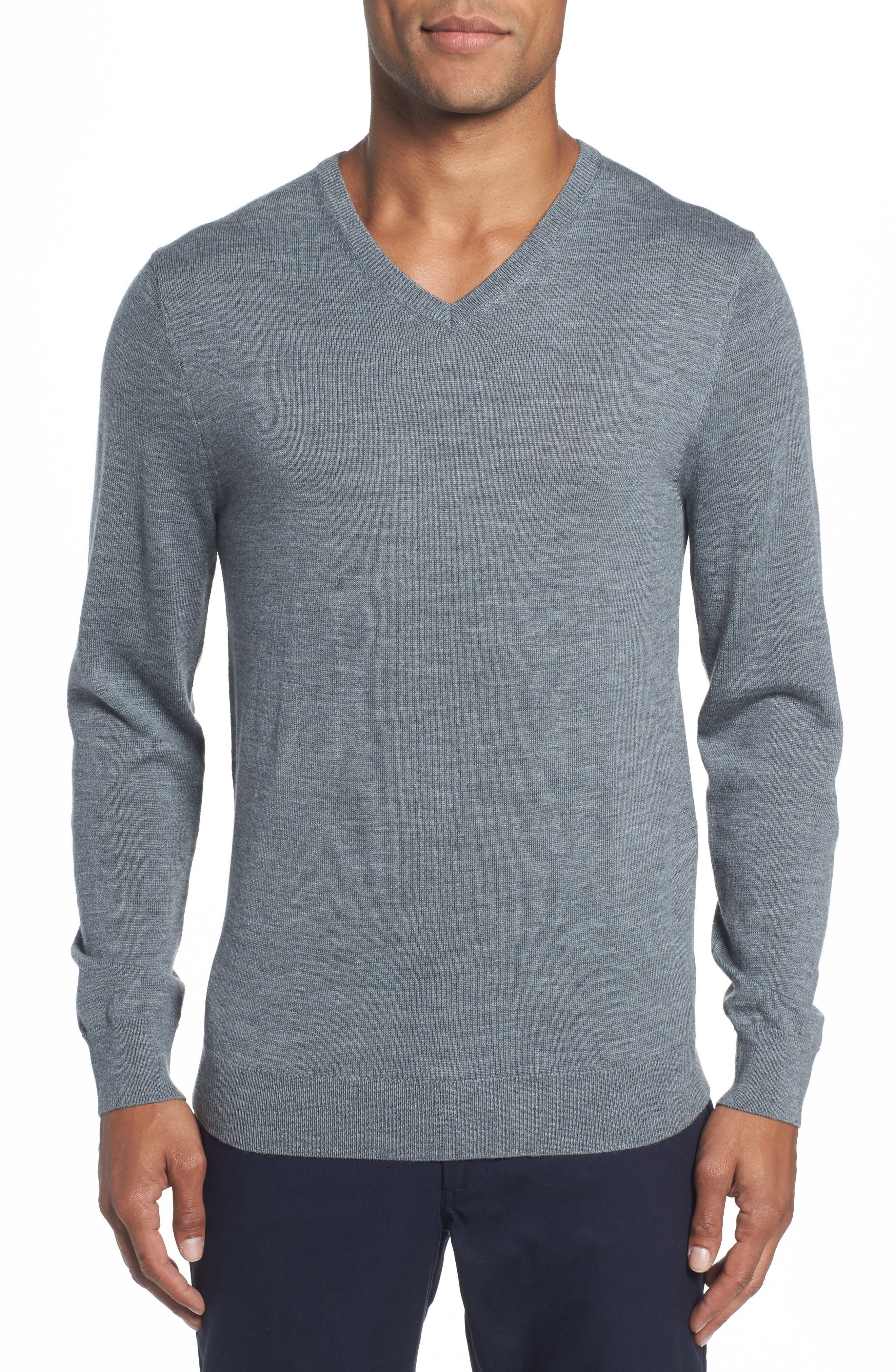 Merino V-Neck Sweater,                             Main thumbnail 1, color,                             Heather Grey
