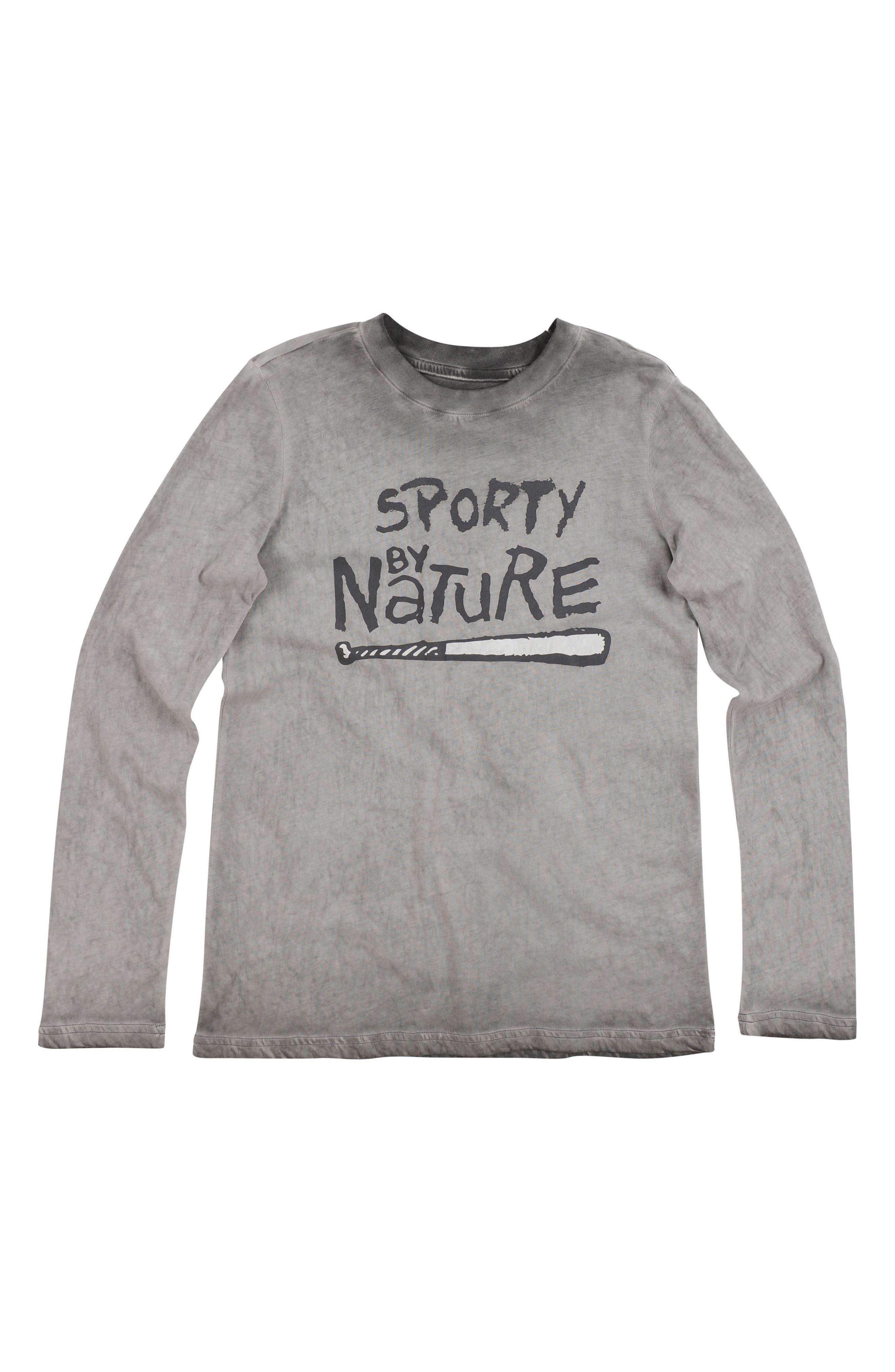 Sporty Graphic Long Sleeve T-Shirt,                         Main,                         color, Gargoyle