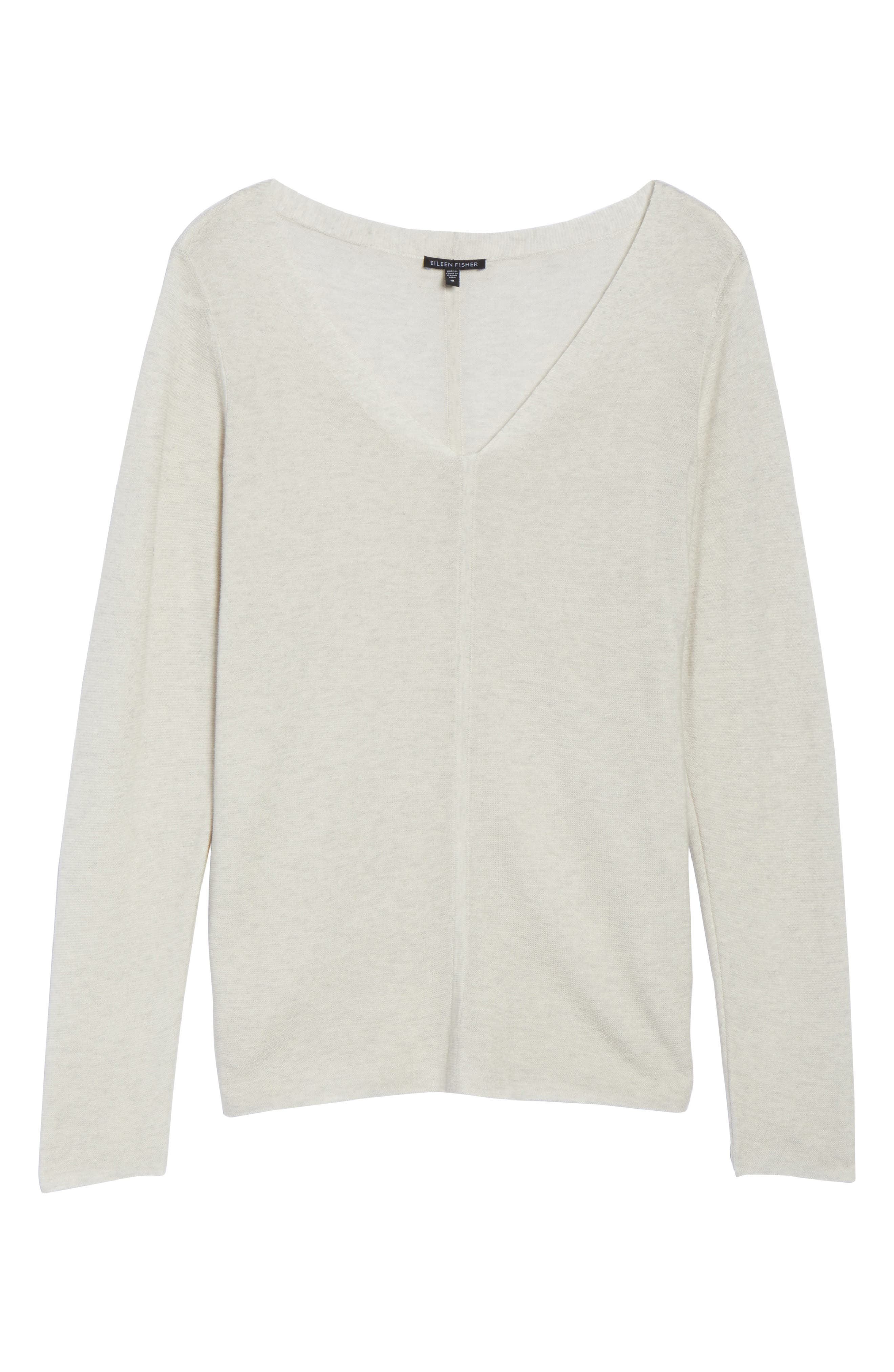 V-Neck Sweater,                             Alternate thumbnail 5, color,                             Pearl