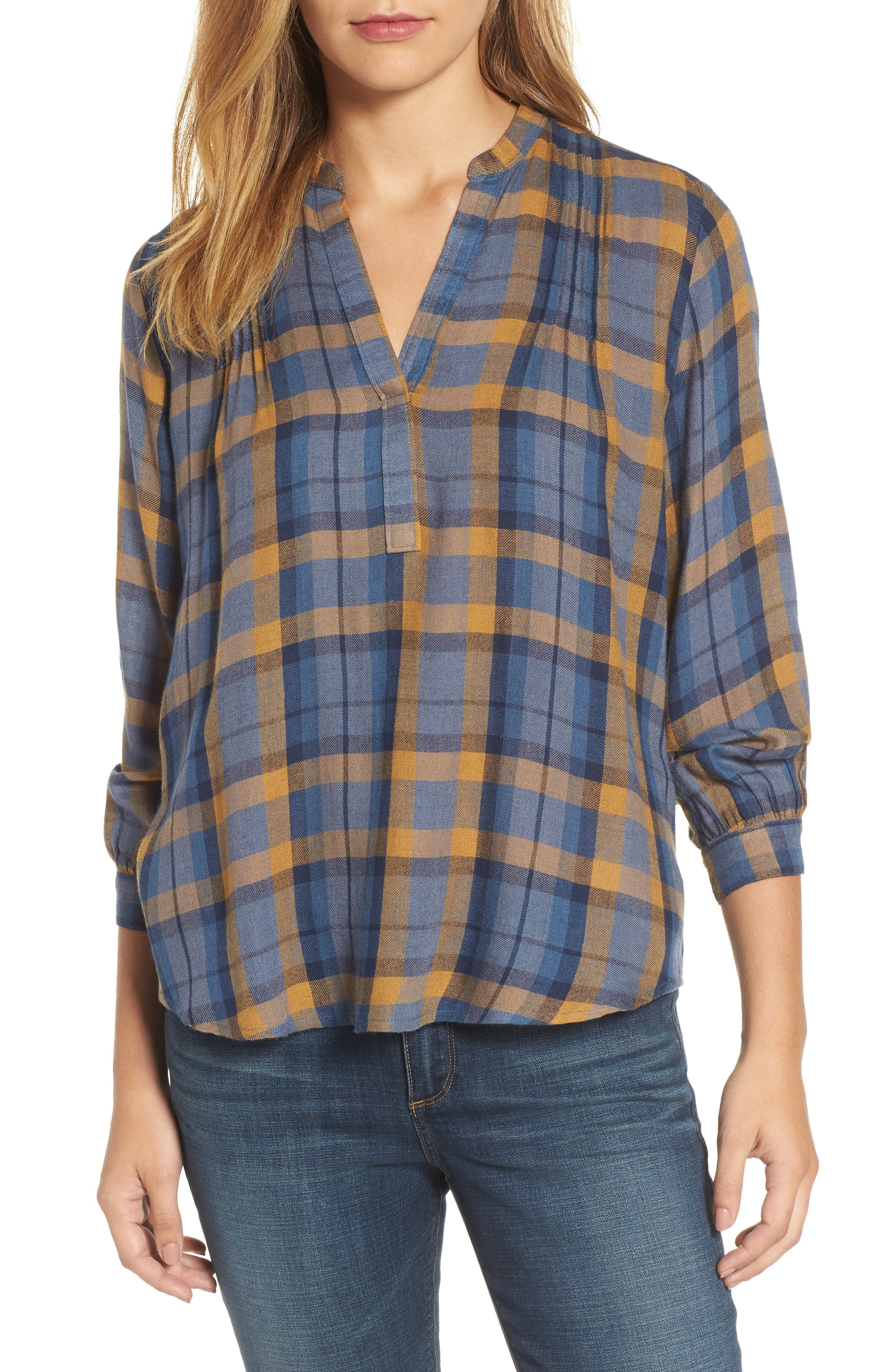 Plaid Top,                         Main,                         color, Blue Multi