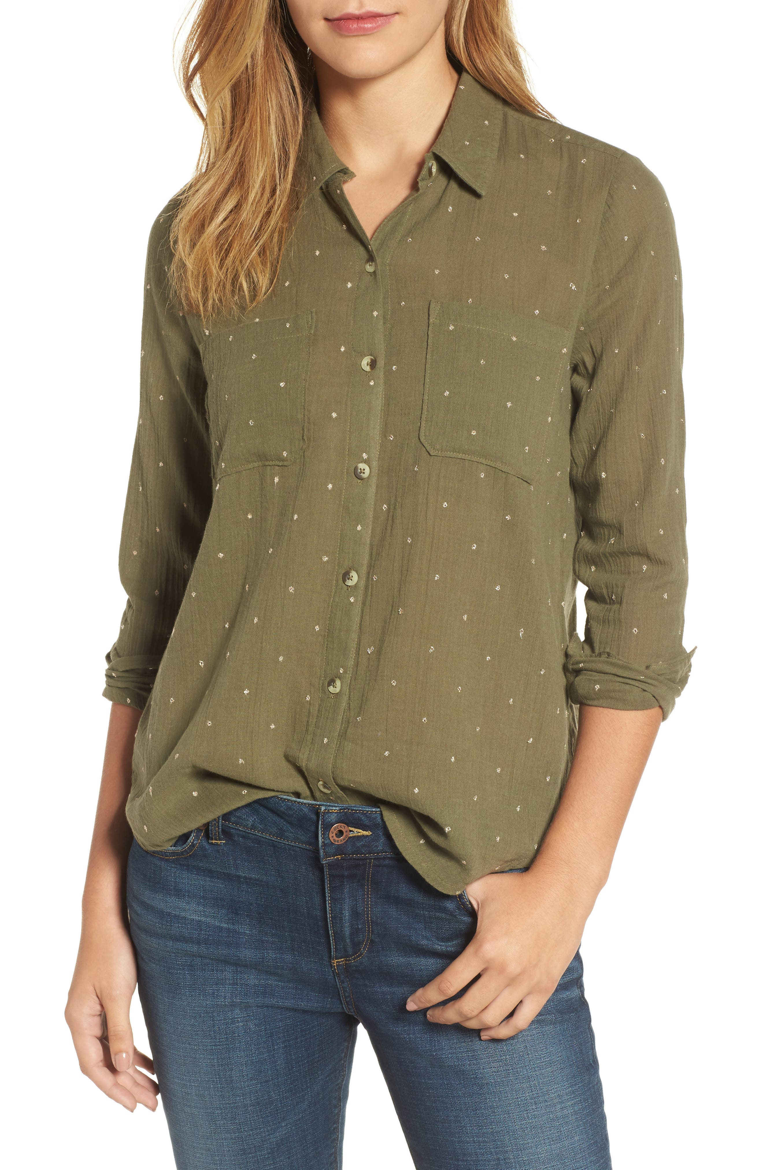 Lucky You Shirt,                             Main thumbnail 1, color,                             Dark Olive