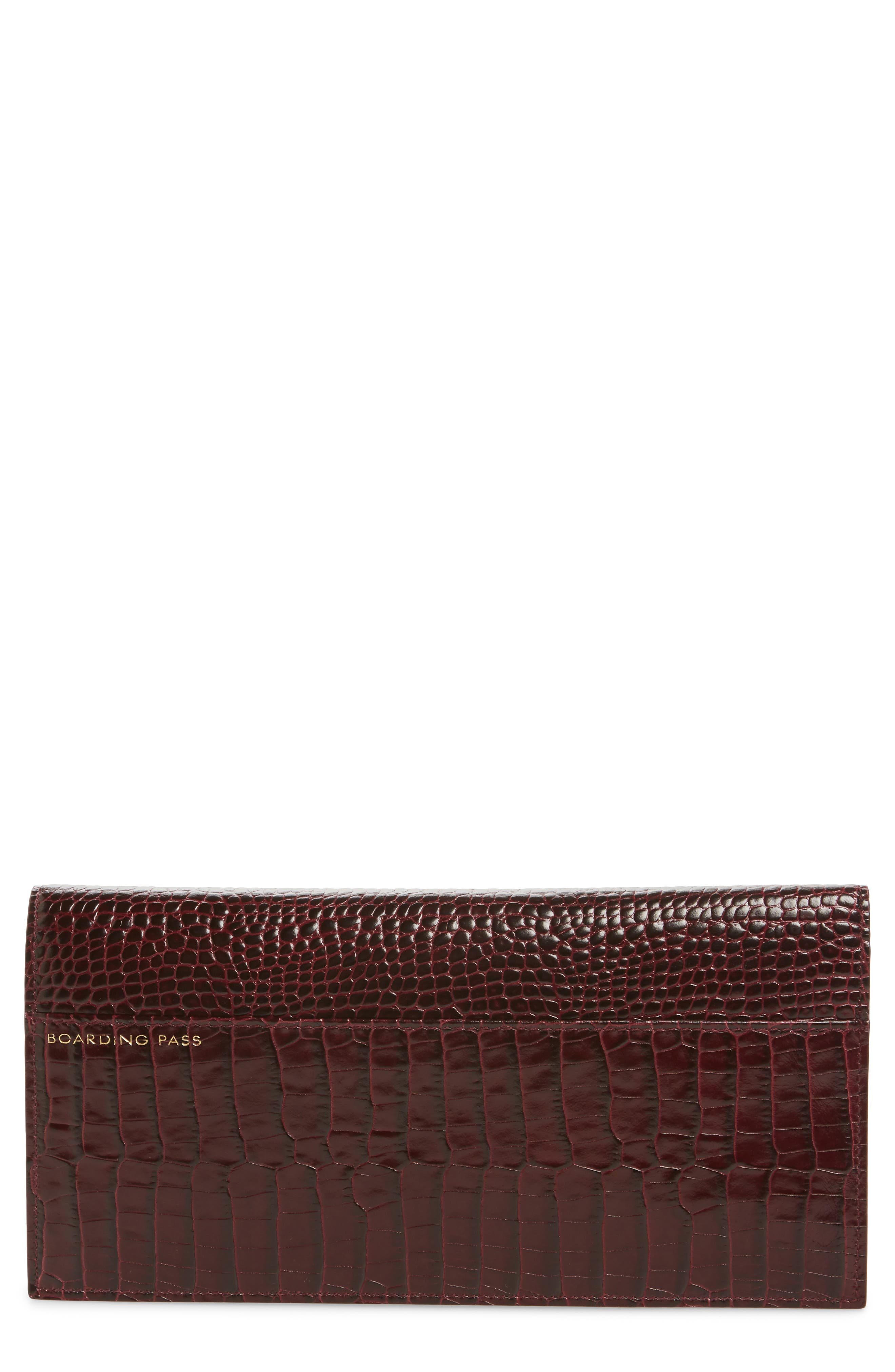 Smythson Mara Slim Croc Embossed Leather Travel Wallet