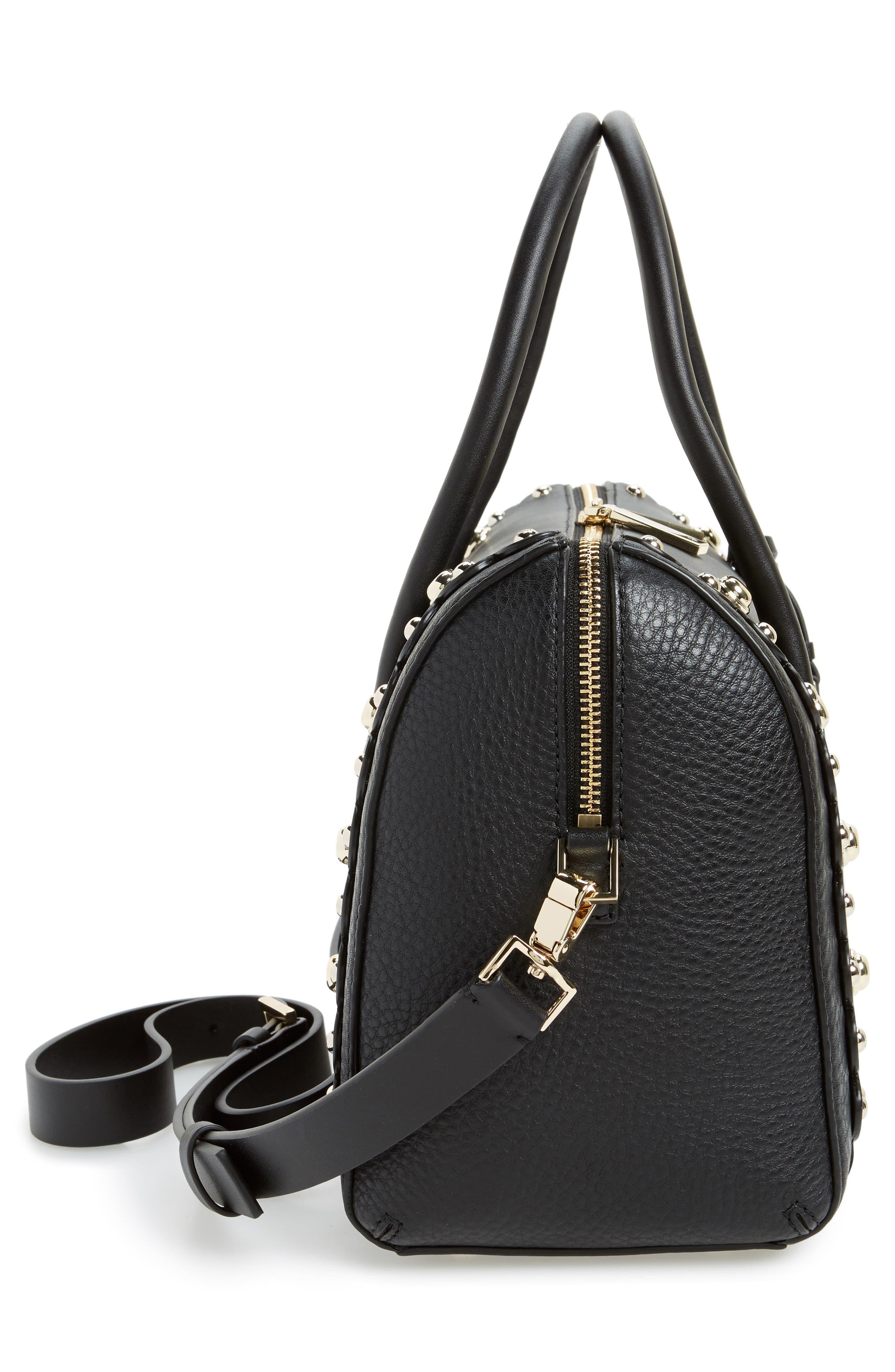 madison stewart studded mega lane leather satchel,                             Alternate thumbnail 4, color,                             Black