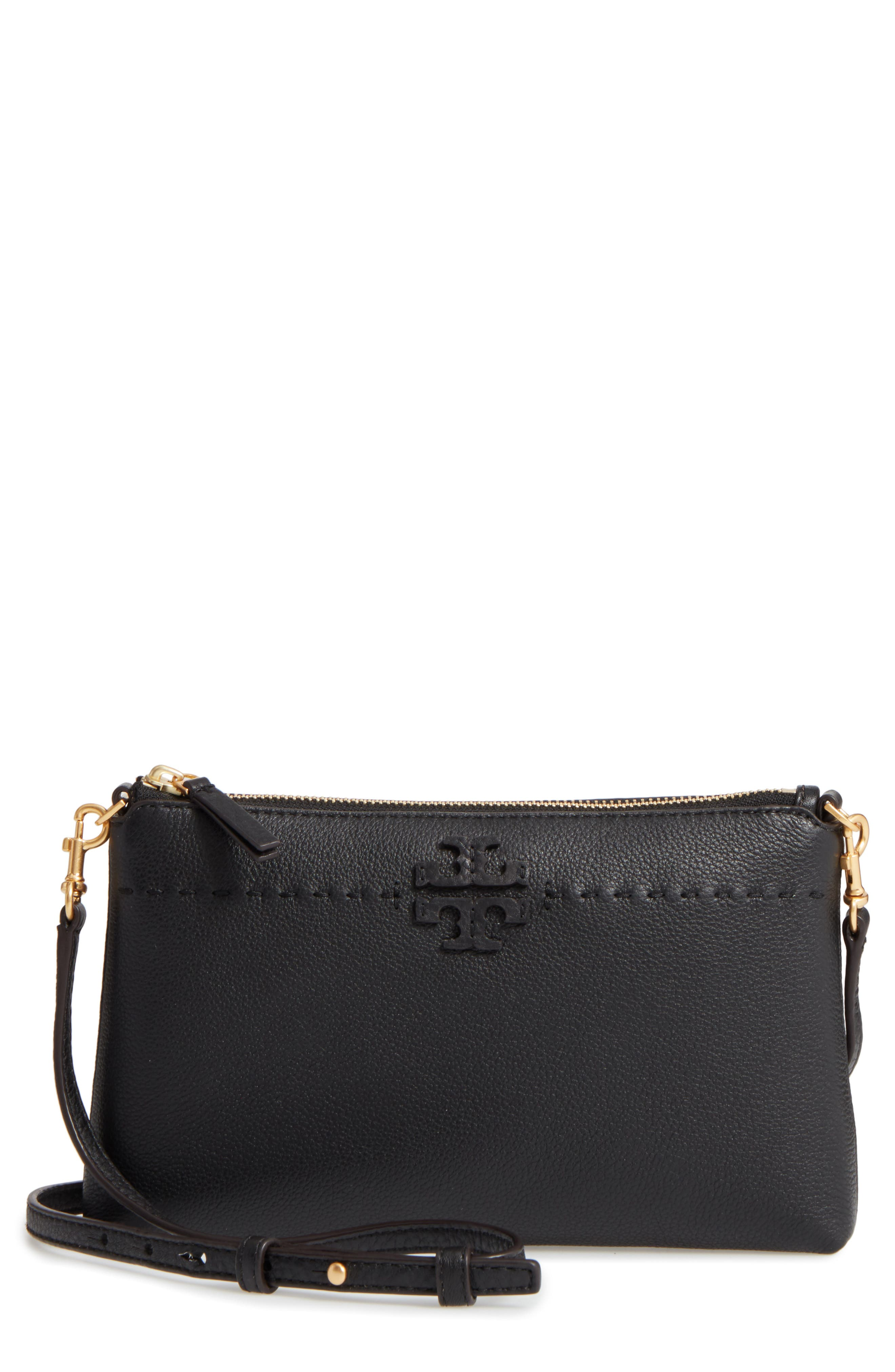 McGraw Leather Crossbody Pouch,                         Main,                         color, Black