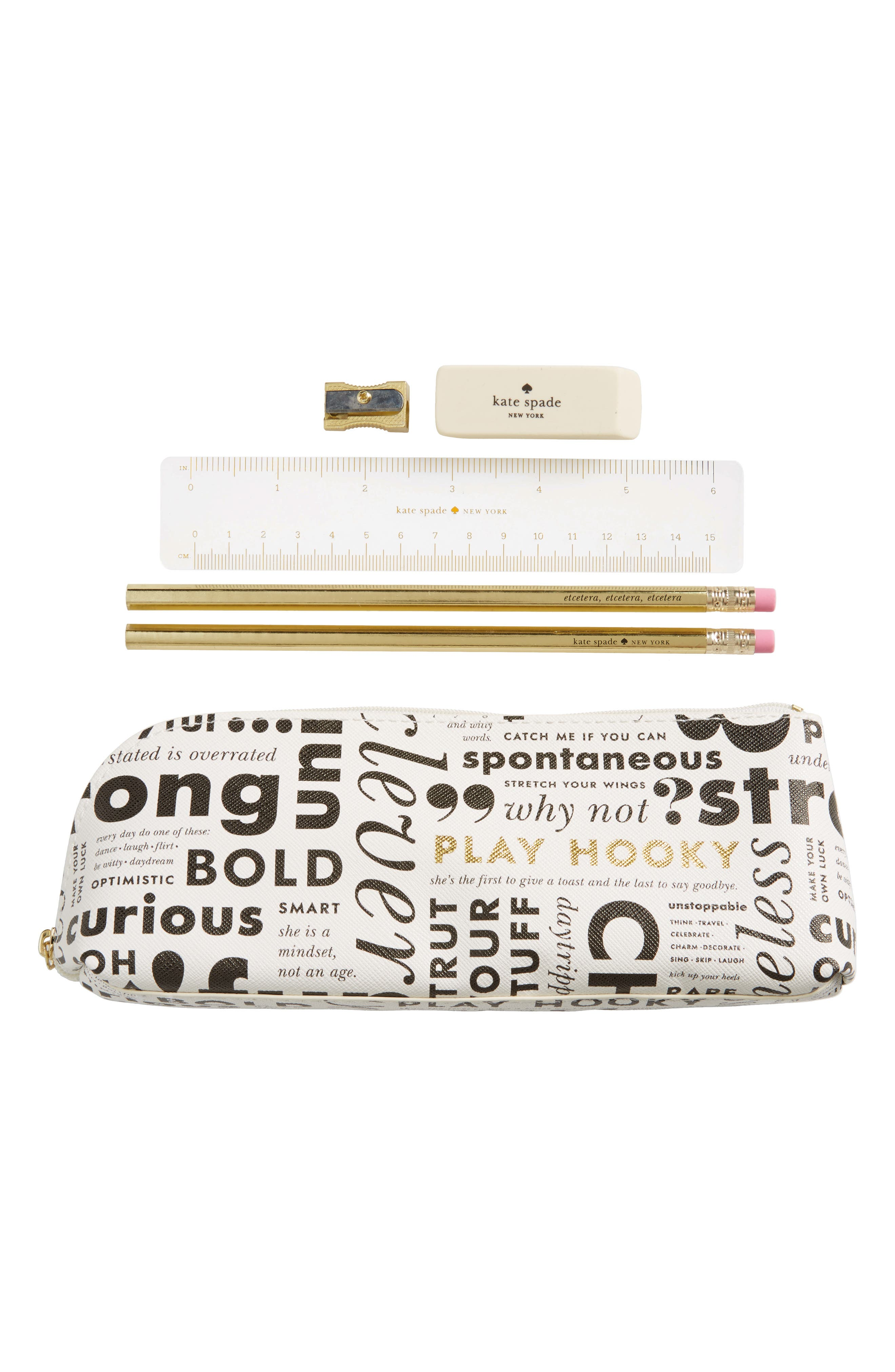 kate spade new york what do you say pencil case