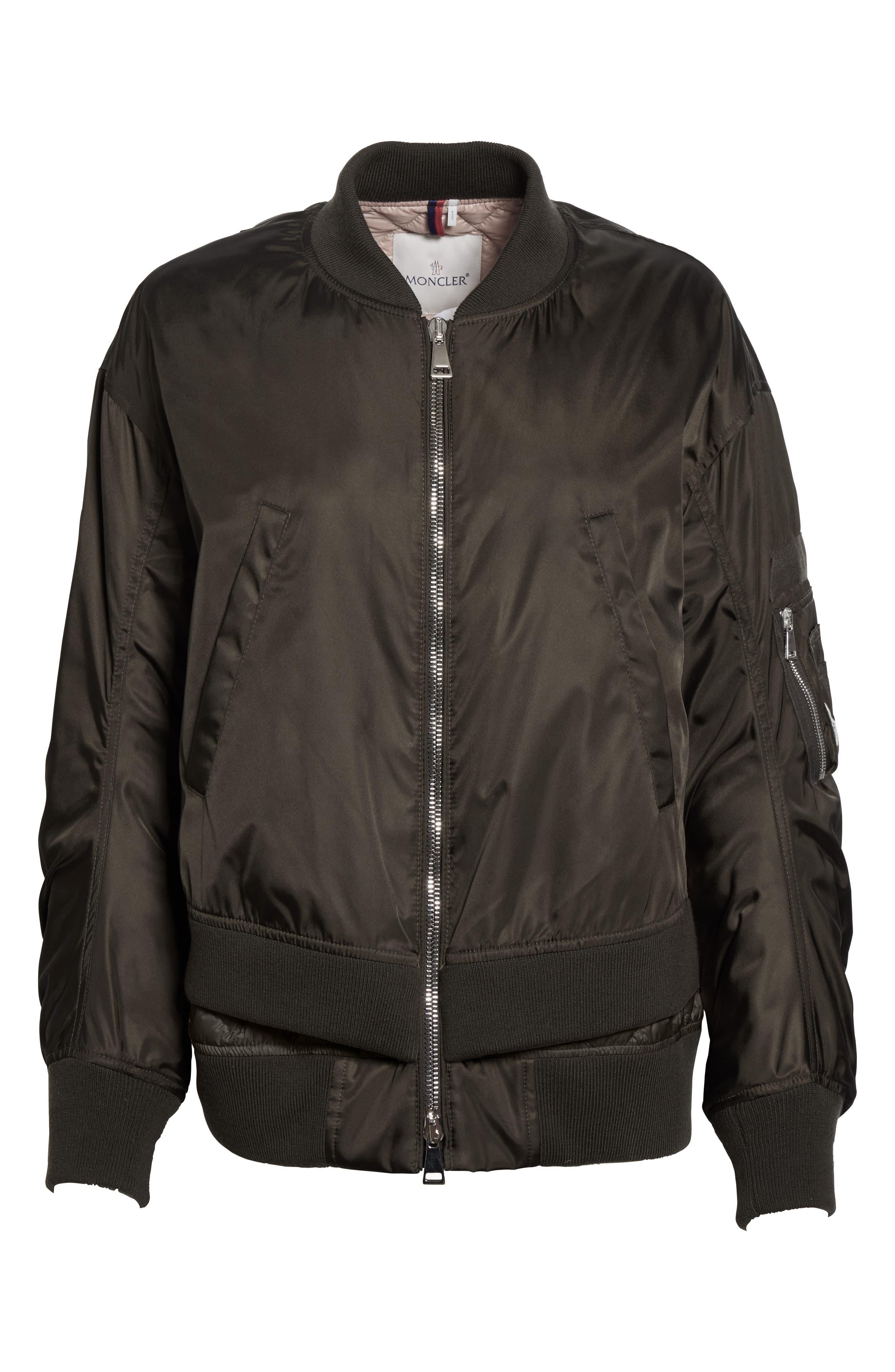Aralia Layered Bomber Jacket,                             Alternate thumbnail 3, color,                             Olive/ Blush Lining