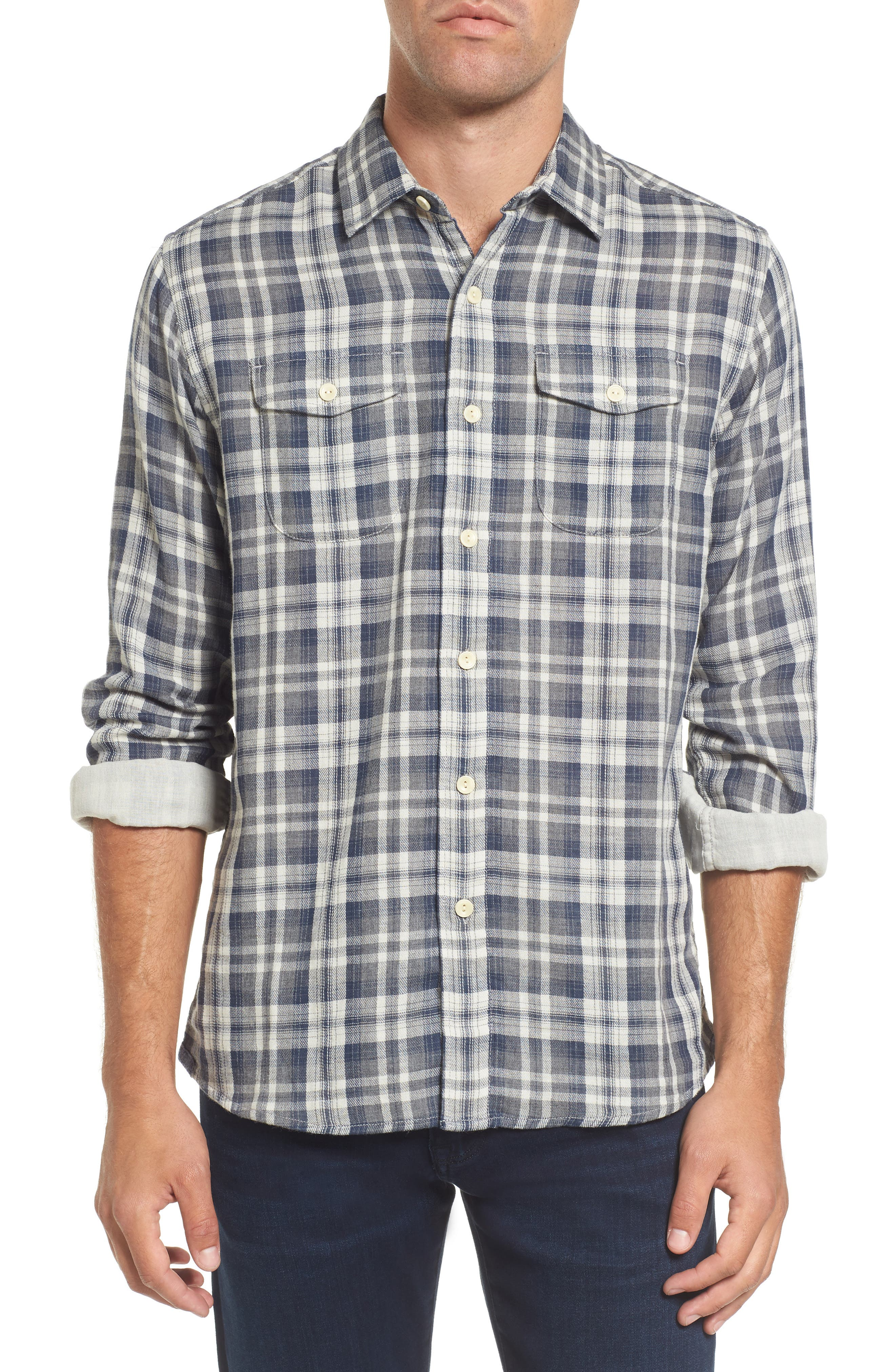 Saratoga Modern Fit Plaid Double Cloth Sport Shirt,                         Main,                         color, Charcoal Navy Stone