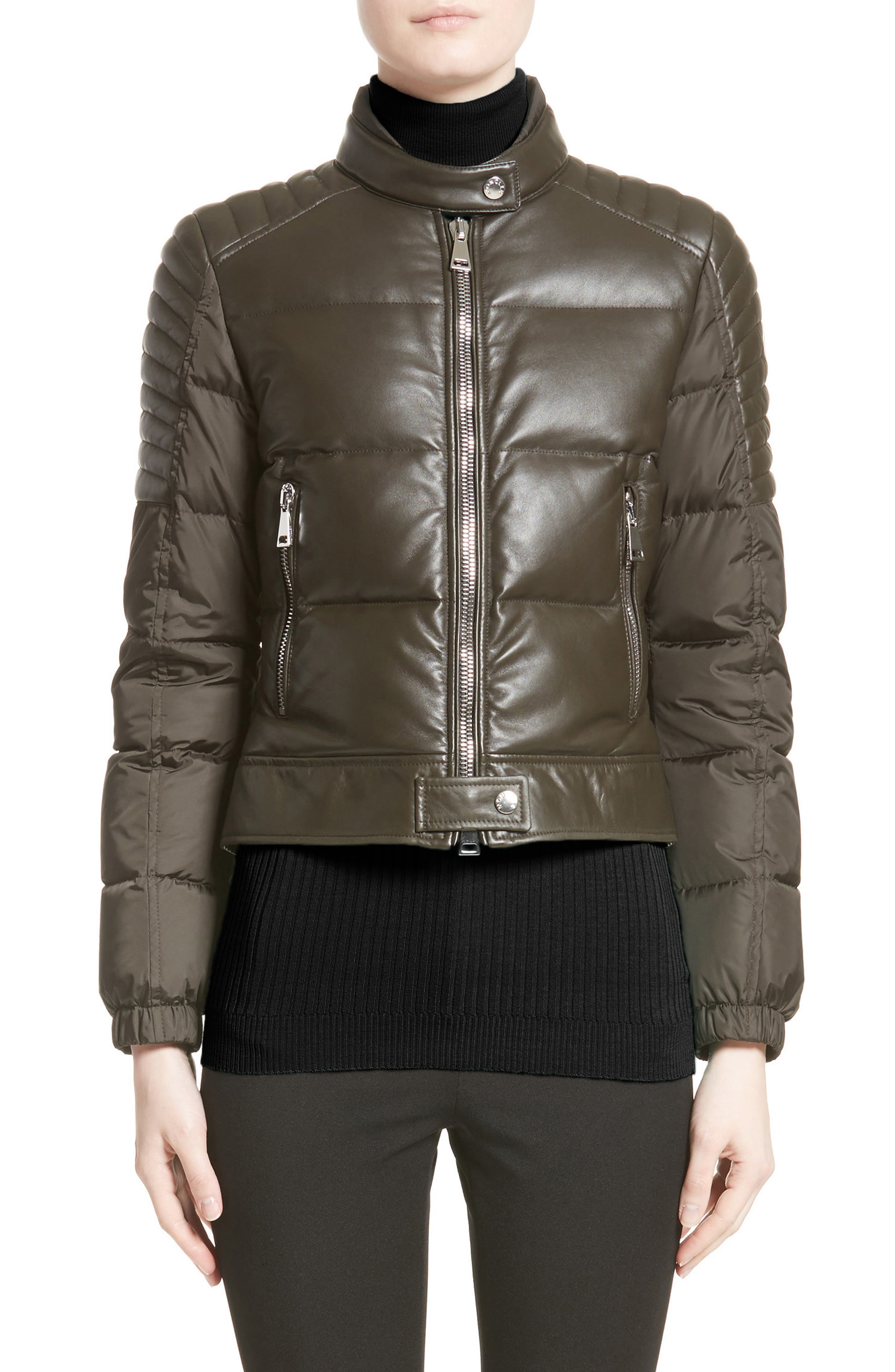 Clematis Leather Trim Down Puffer Jacket,                             Main thumbnail 1, color,                             Olive