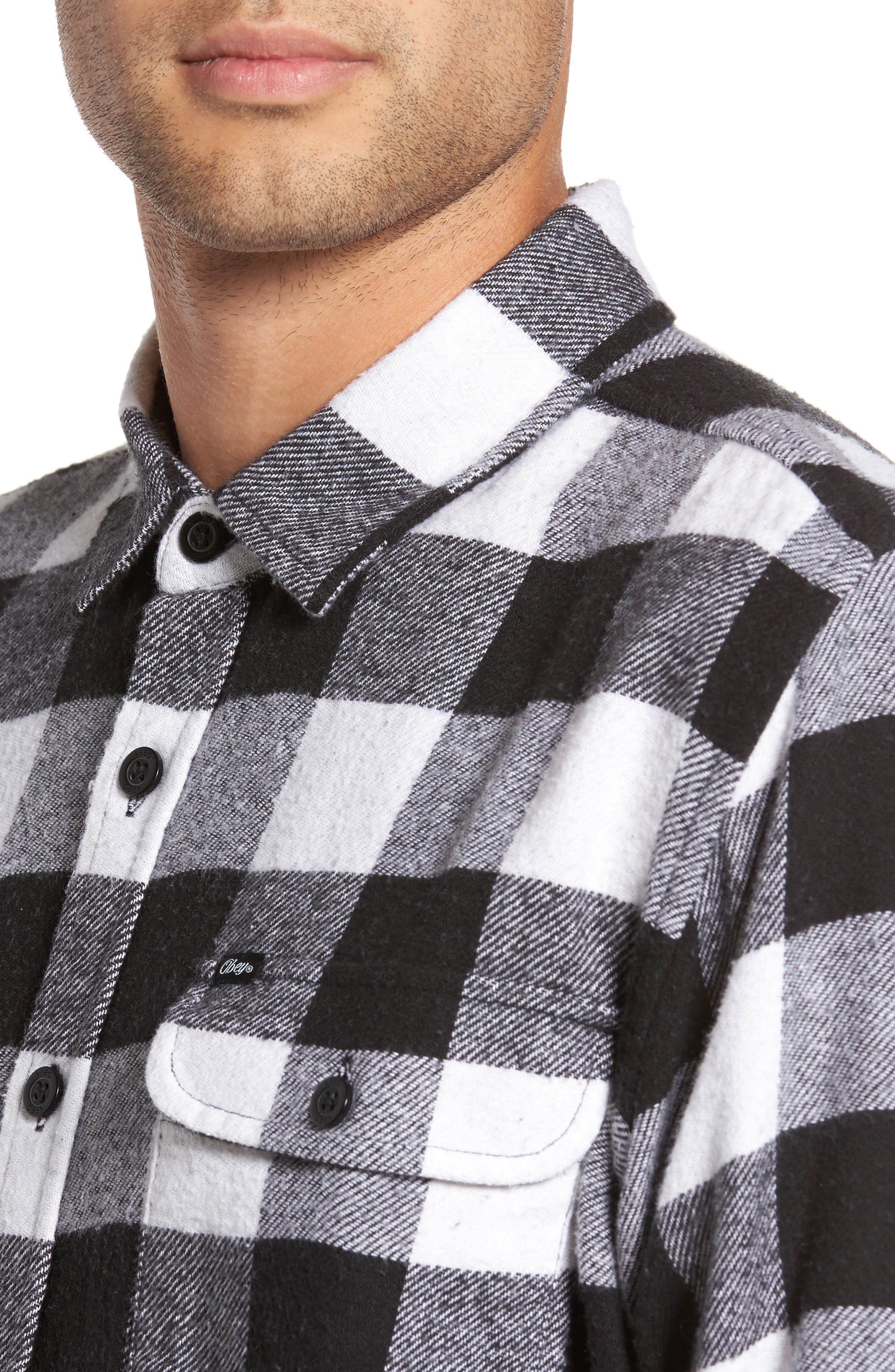 Alternate Image 4  - Obey Trent Check Woven Shirt
