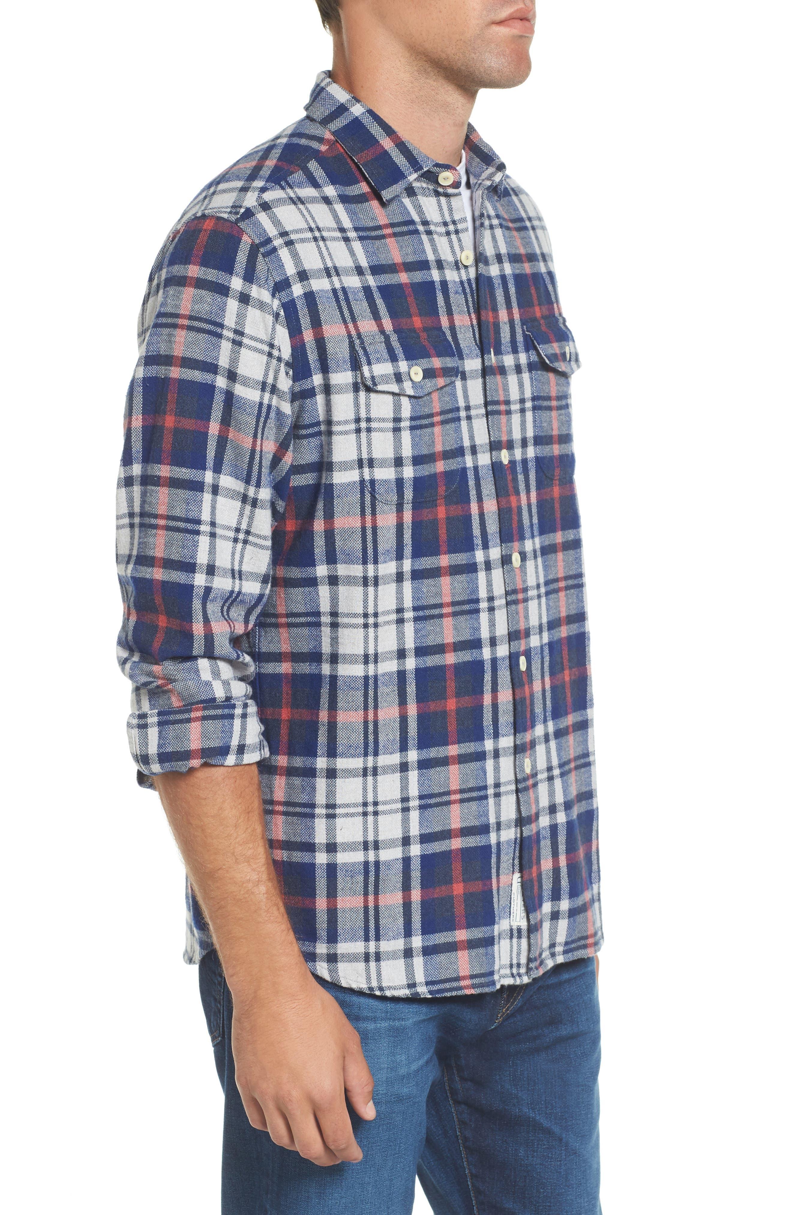 Alternate Image 3  - Grayers Bisney Modern Fit Texture Flannel Sport Shirt