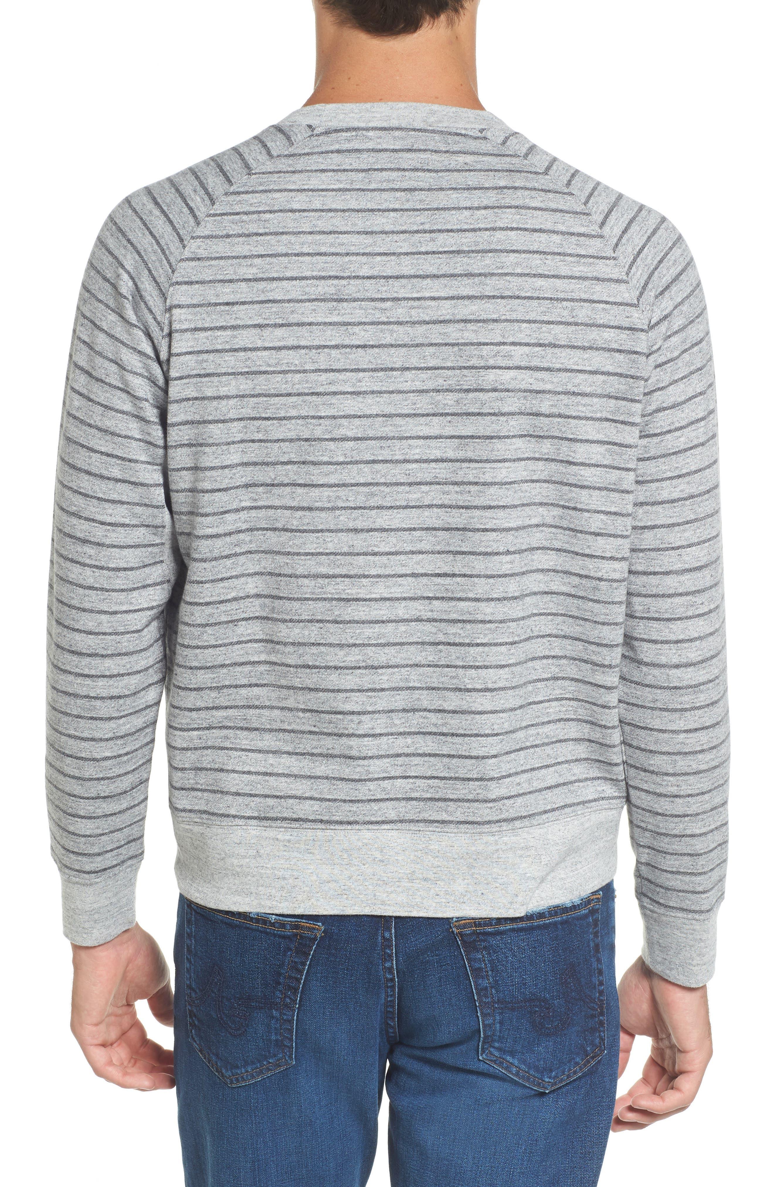 Palmer Modern Fit Athletic Stripe Sweatshirt,                             Alternate thumbnail 4, color,                             Gray Heather / Charcoal
