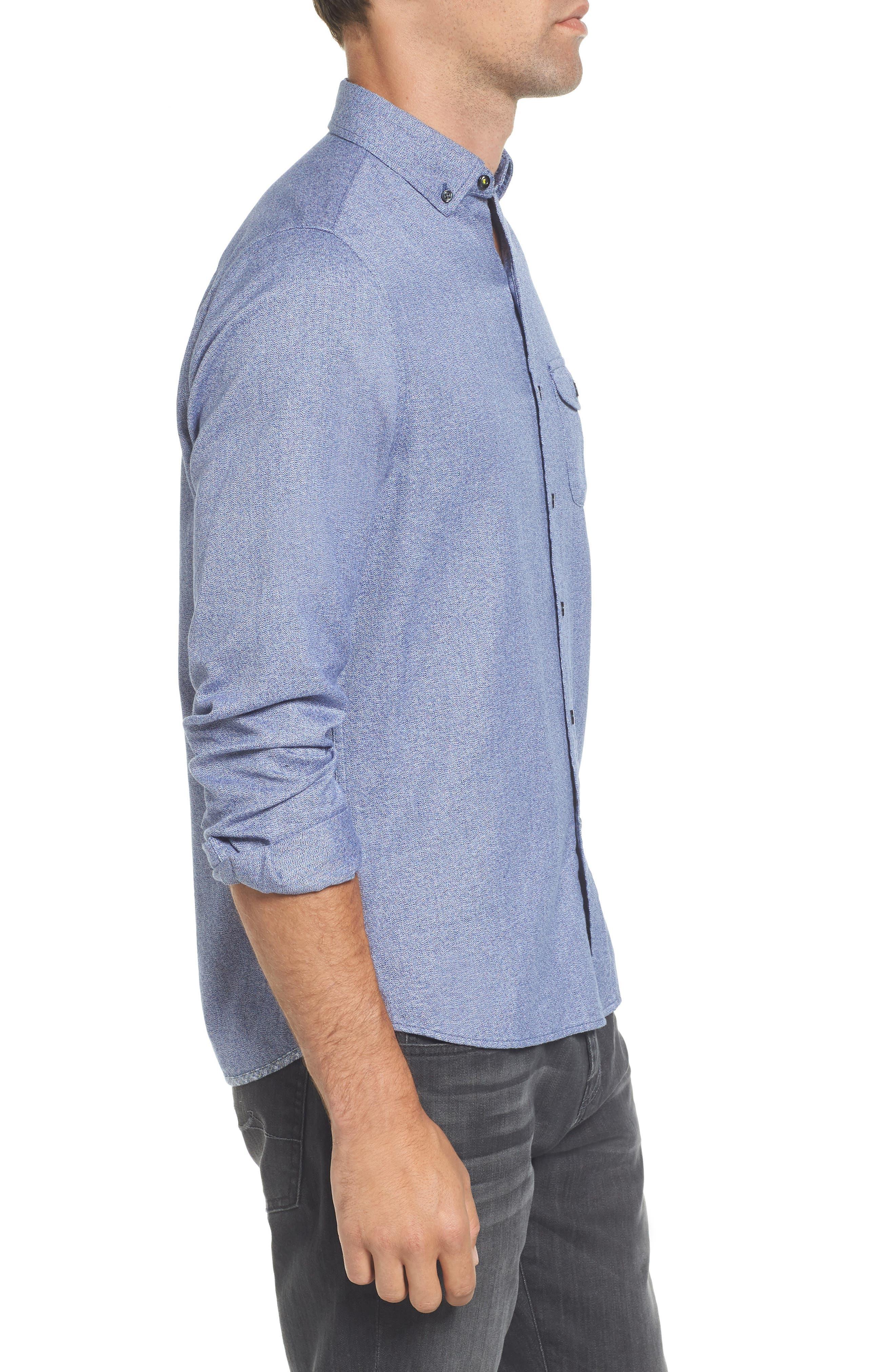 Jaspe Trim Fit Heather Sport Shirt,                             Alternate thumbnail 3, color,                             Blue Ink