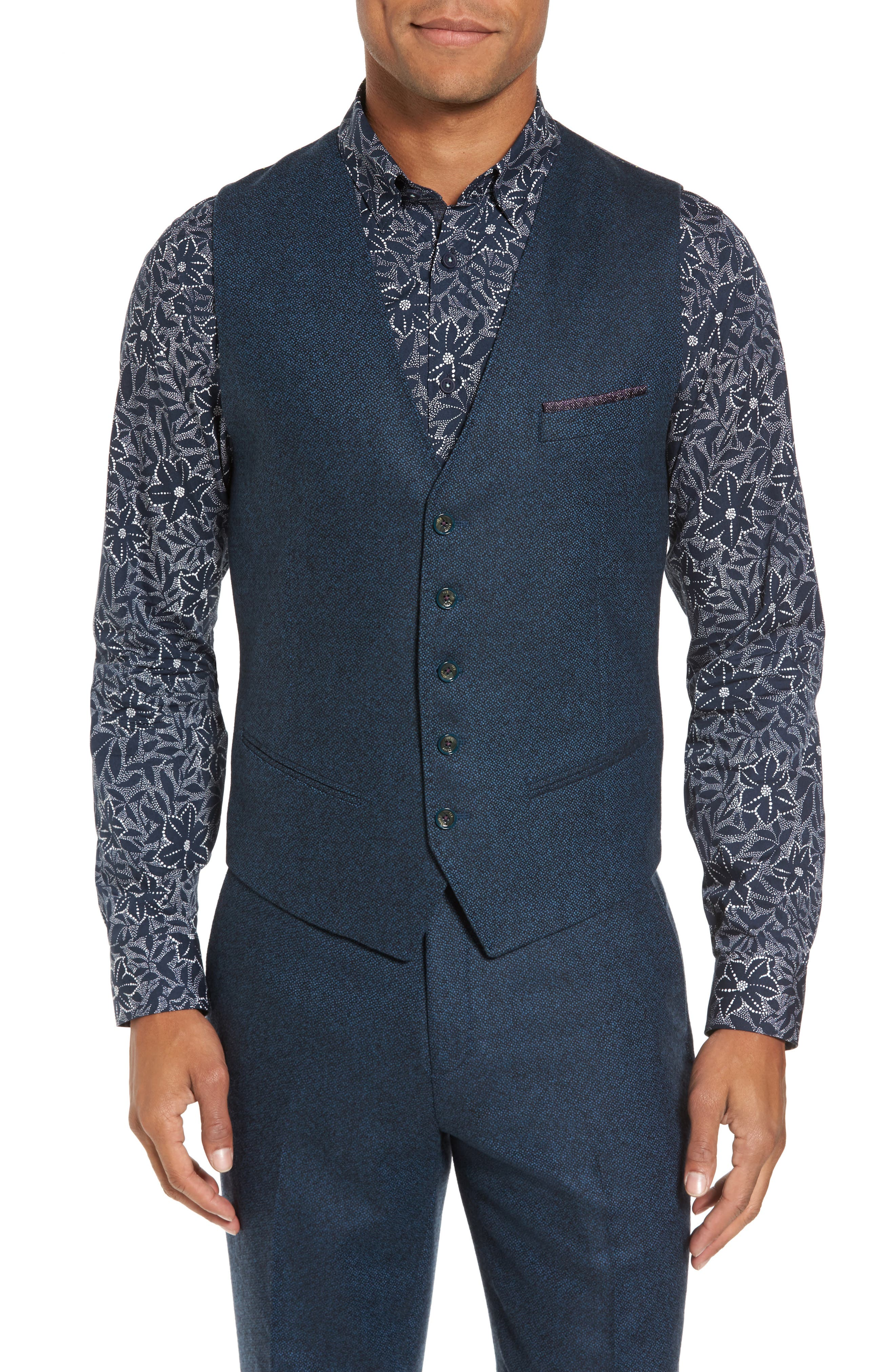 Modern Slim Fit Waistcoat,                         Main,                         color, Teal Blue