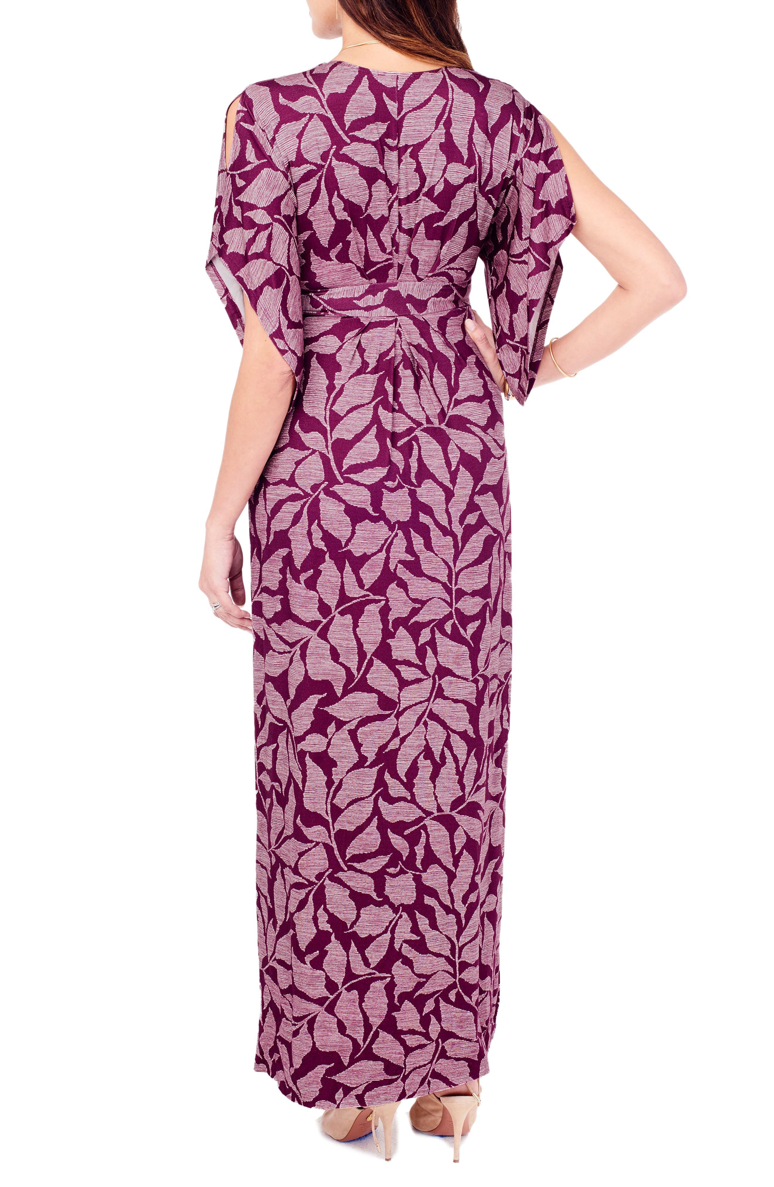 Ingrid & Isabel Split Kimono Sleeve Maternity Maxi Dress,                             Alternate thumbnail 4, color,                             Plum Leaf Print